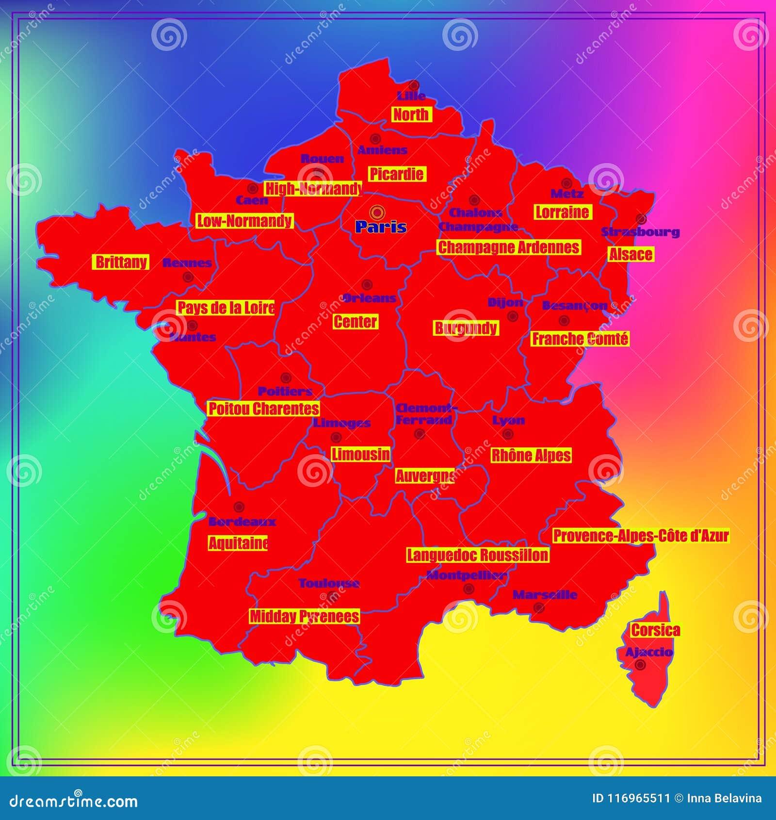 Frankreich Karte Regionen.Karte Von Frankreich Mit Französischen Regionen Stock Abbildung
