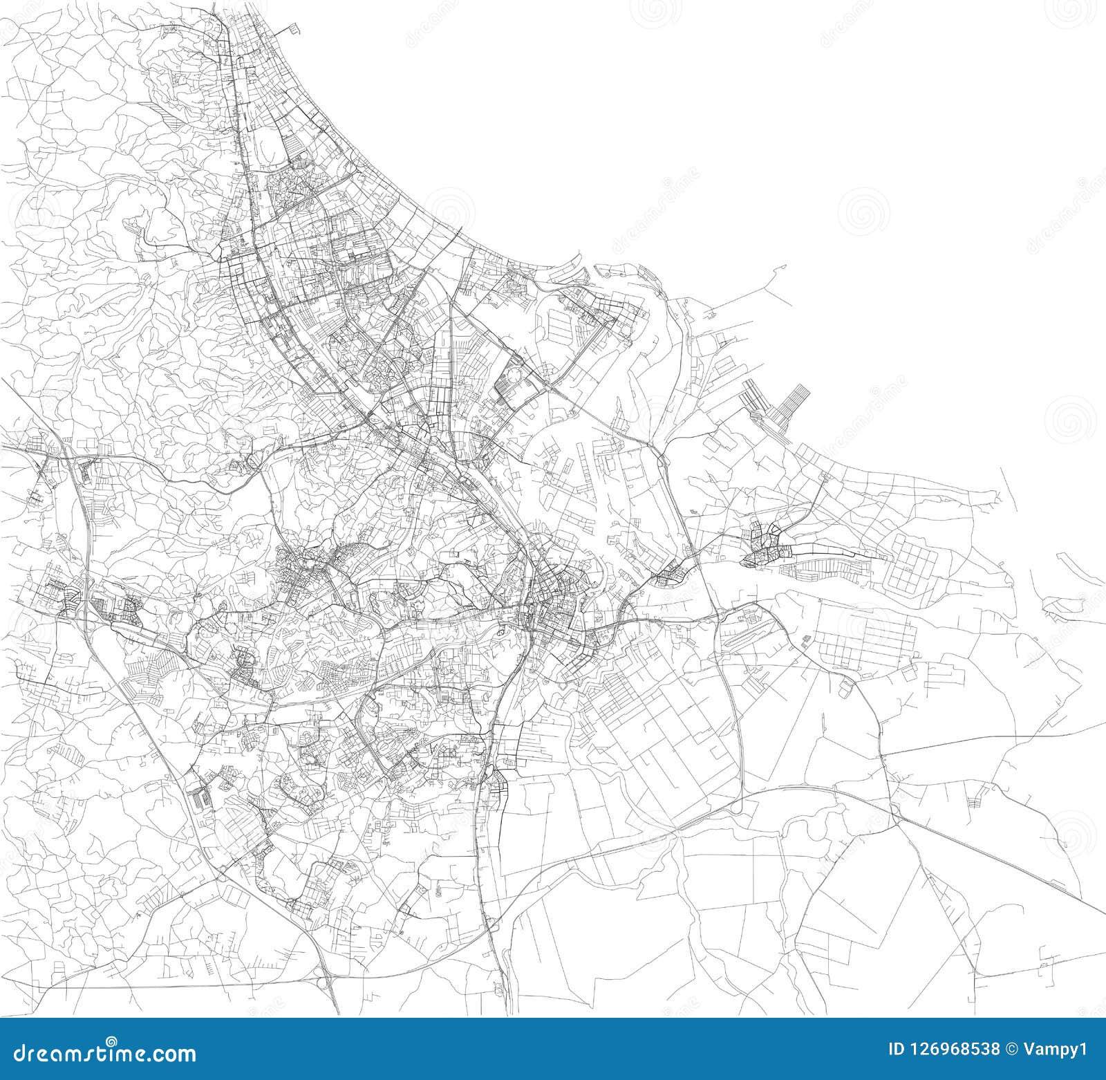 Karte Europa Schwarz Weiss.Karte Von Gdansk Satellitenbild Schwarzweiss Karte Polen