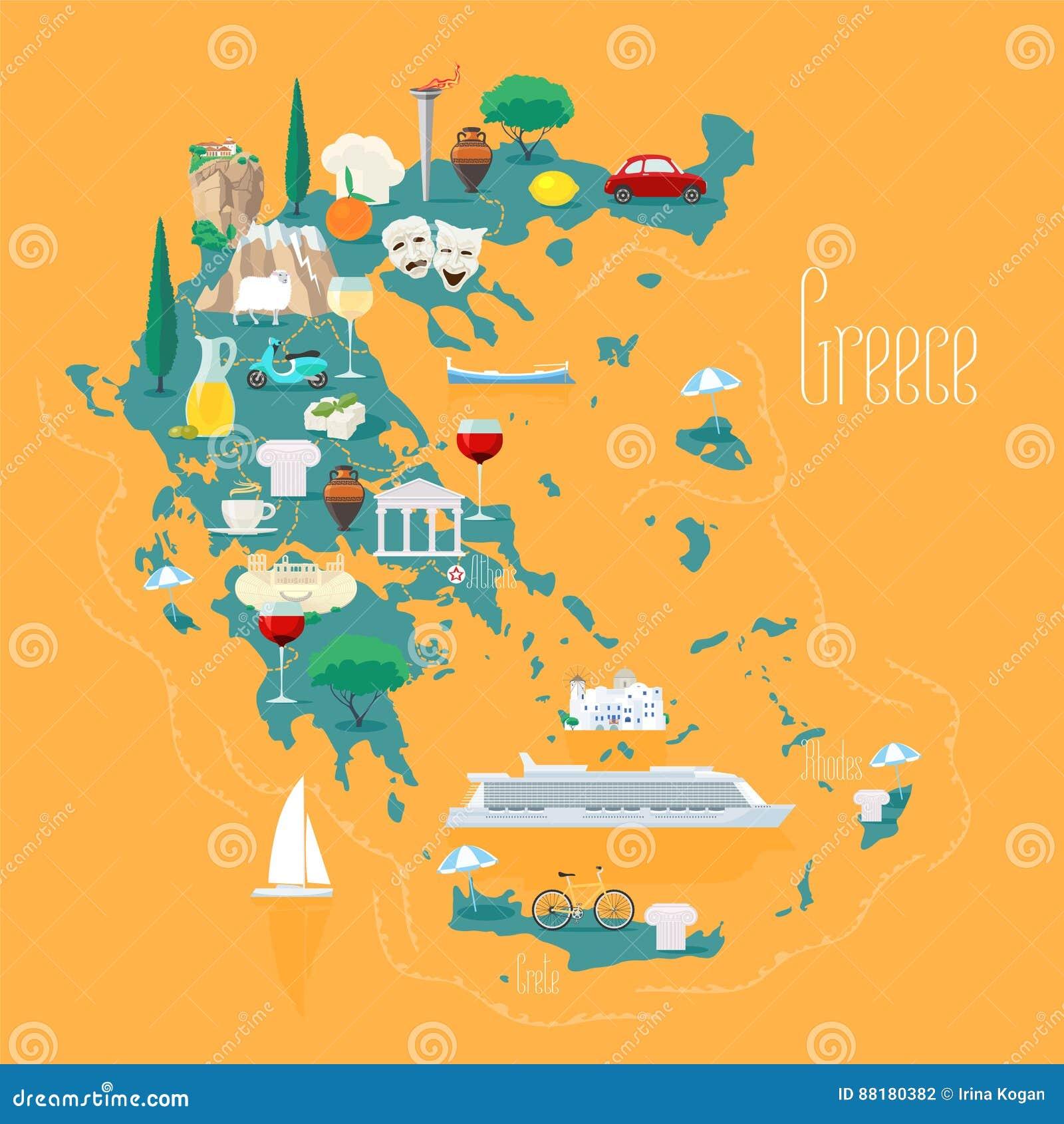 Karte Griechenland.Karte Von Griechenland Mit Inseln Vector Illustration