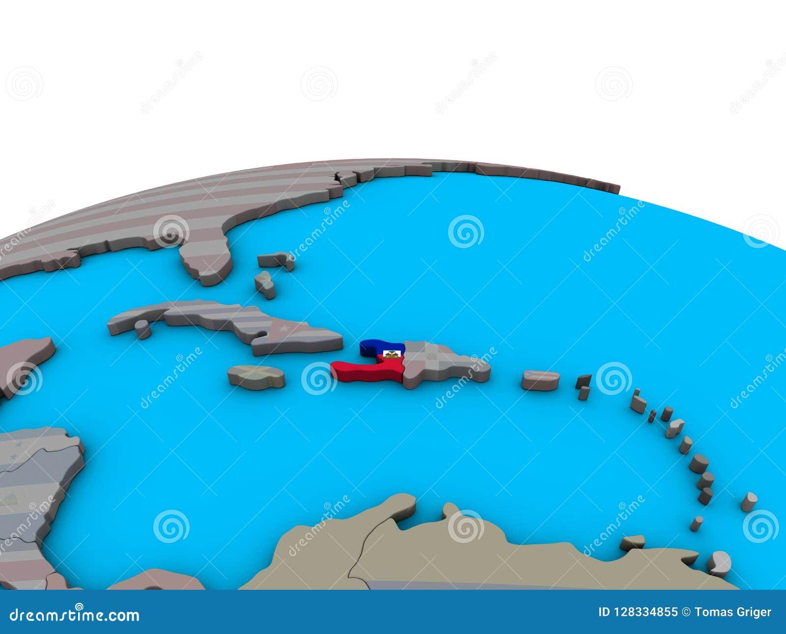 Haiti Karte.Karte Von Haiti Mit Flagge Auf Kugel Stock Abbildung Illustration