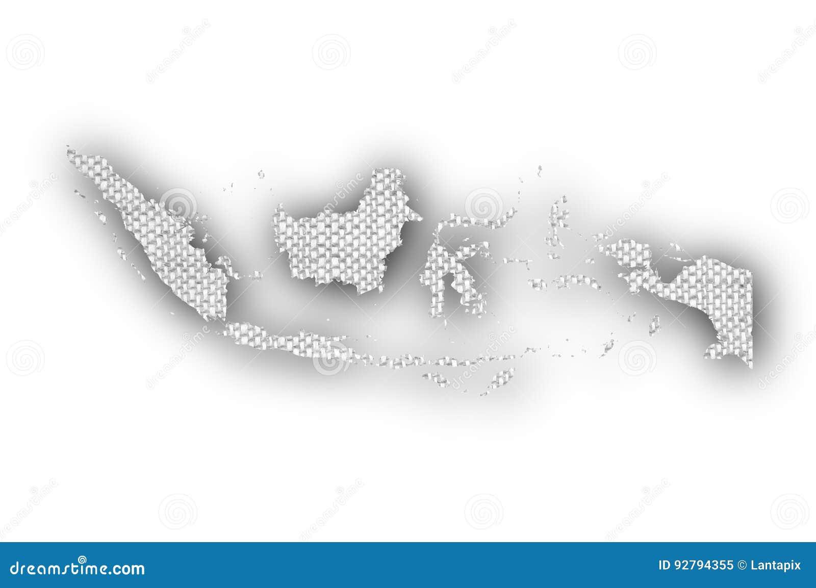 Karte von Indonesien auf altem Leinen