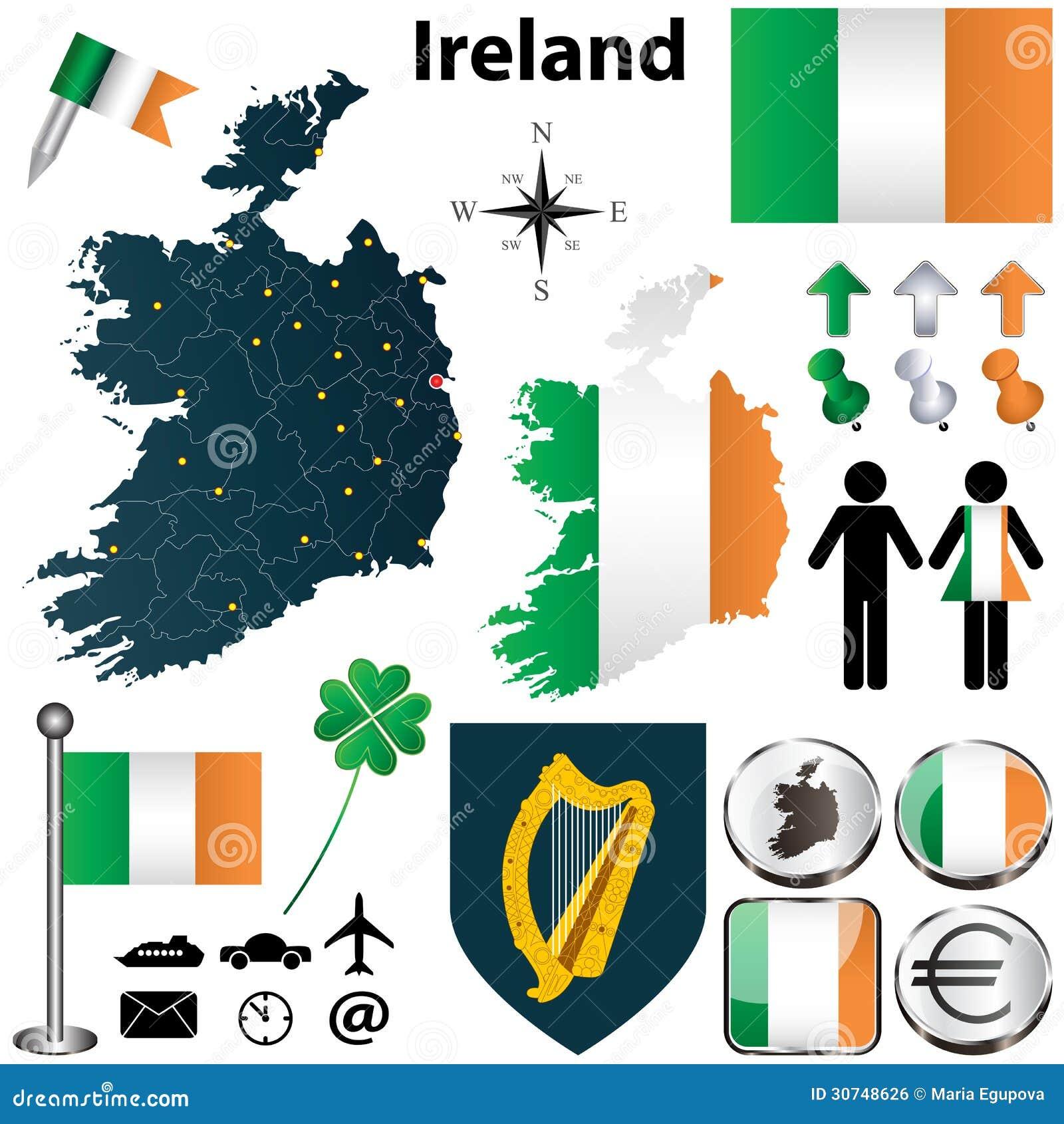 Karte von Irland mit Regionen