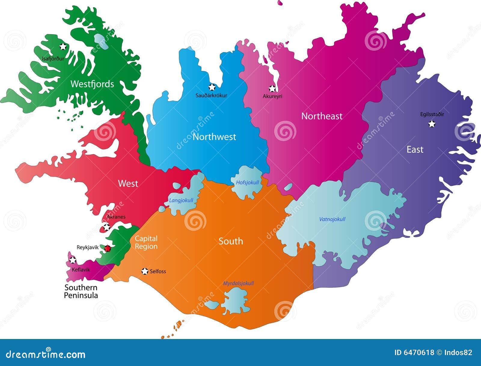 Karte von Island