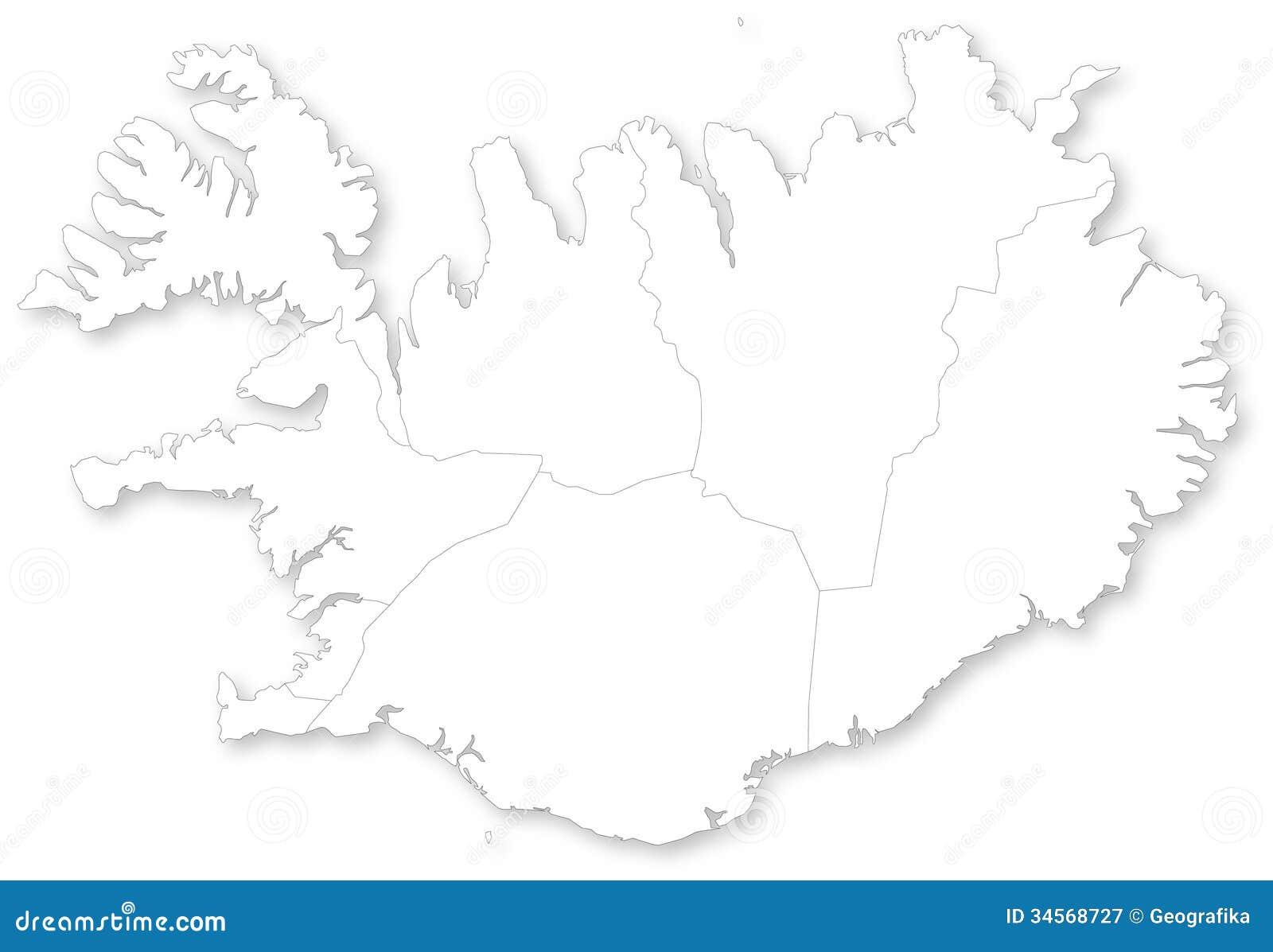Karte von Island mit Regionen.
