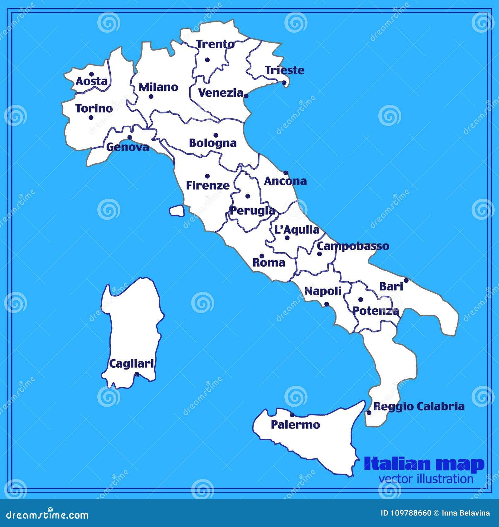 Karte Von Italien Mit Blauem Hintergrund Italien Karte Mit