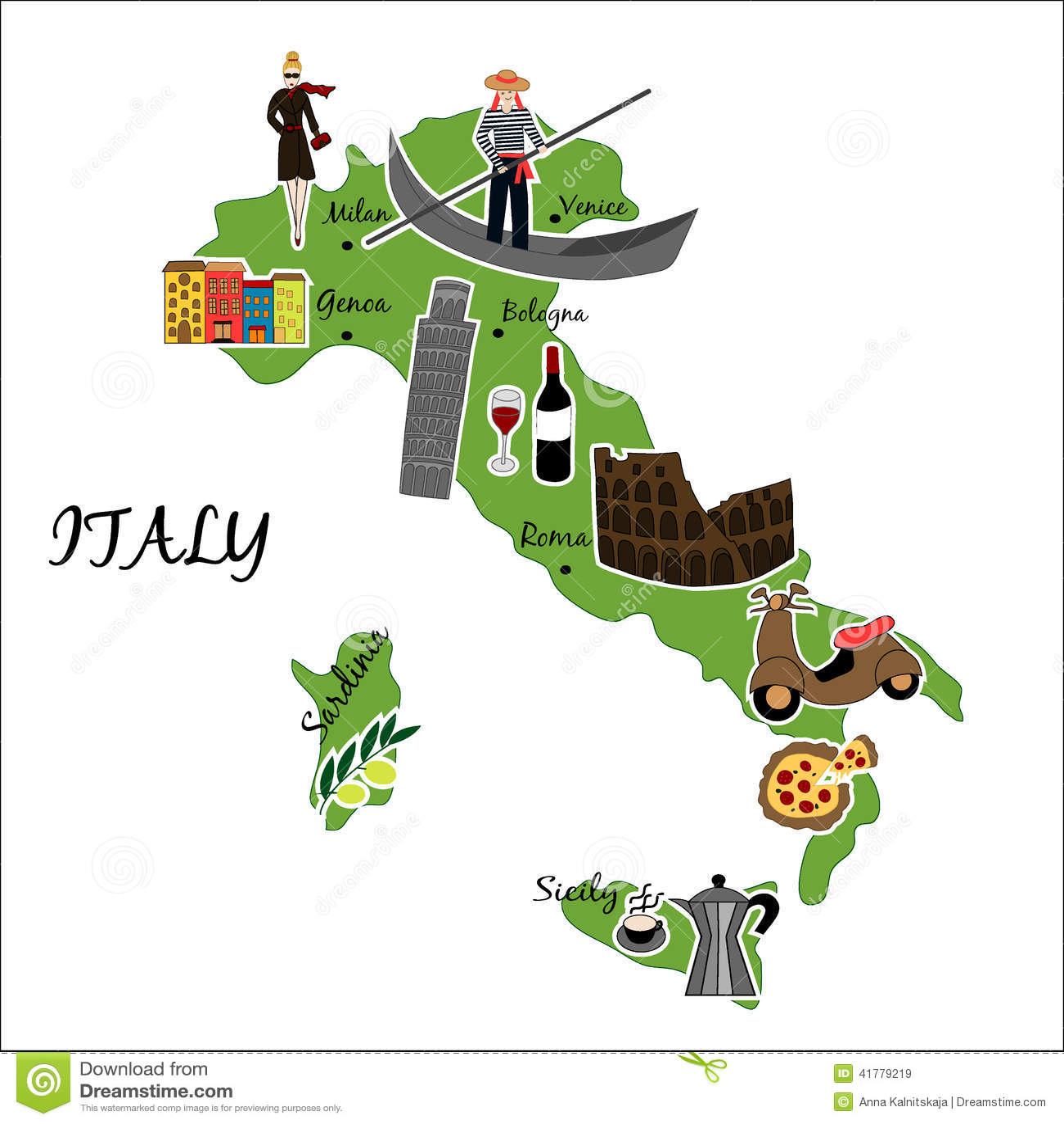 Karte von Italien mit typischen Funktionen