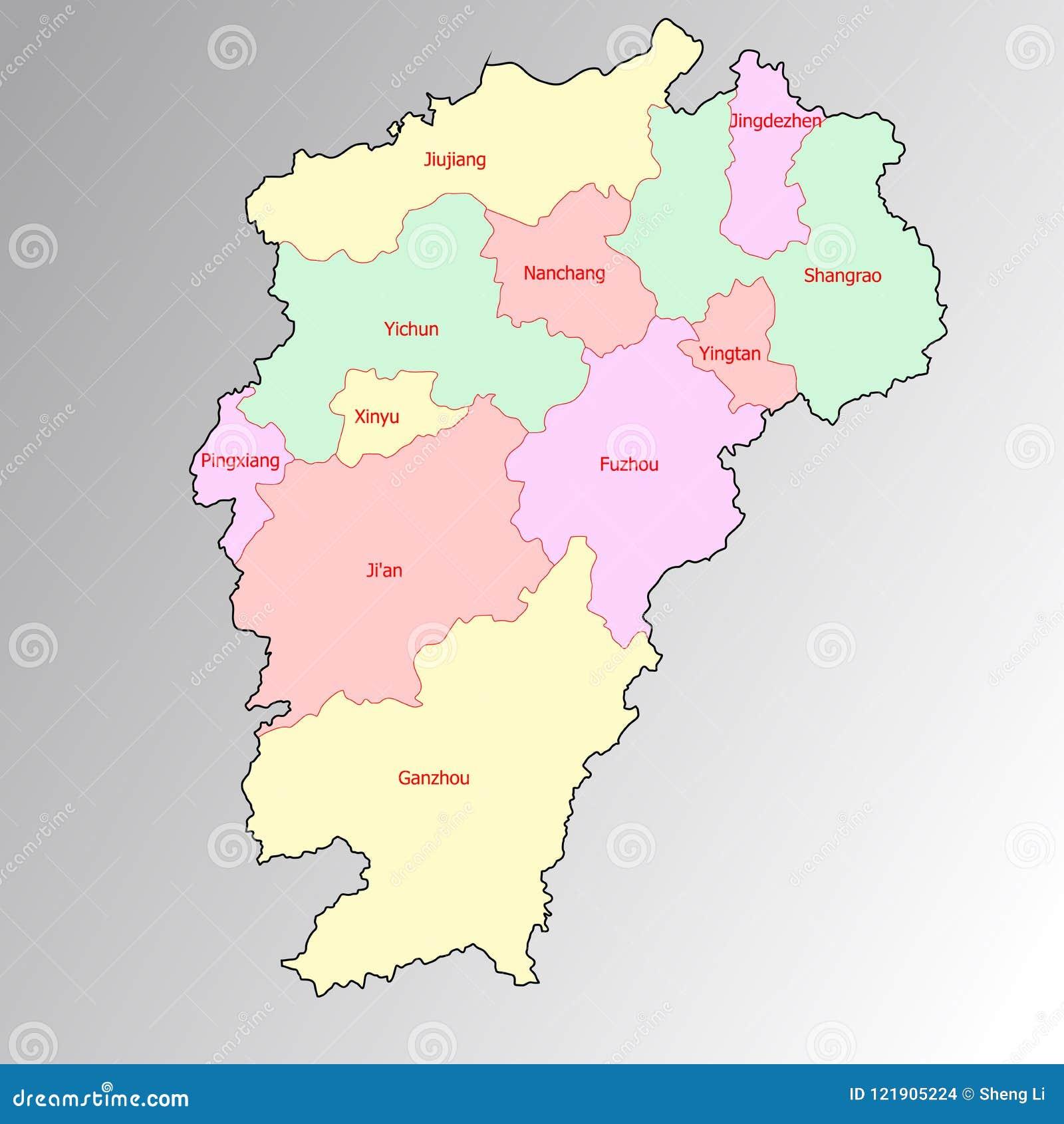 Nantes Karte.Karte Von Jiangxi Provinz China Vektor Abbildung Illustration Von