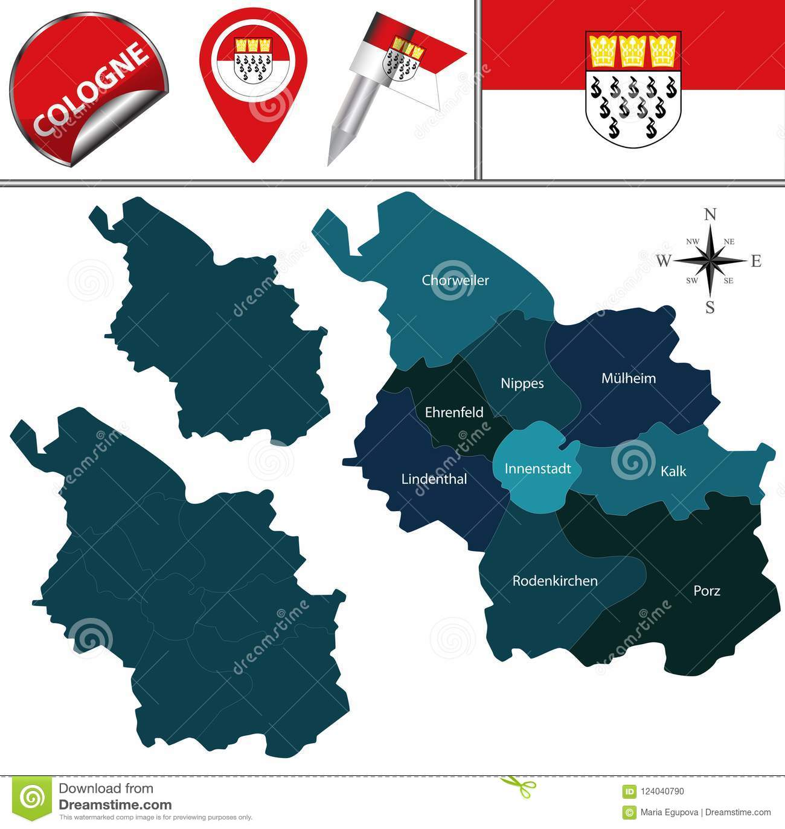 Köln Karte Deutschland.Karte Von Köln Deutschland Vektor Abbildung Illustration Von