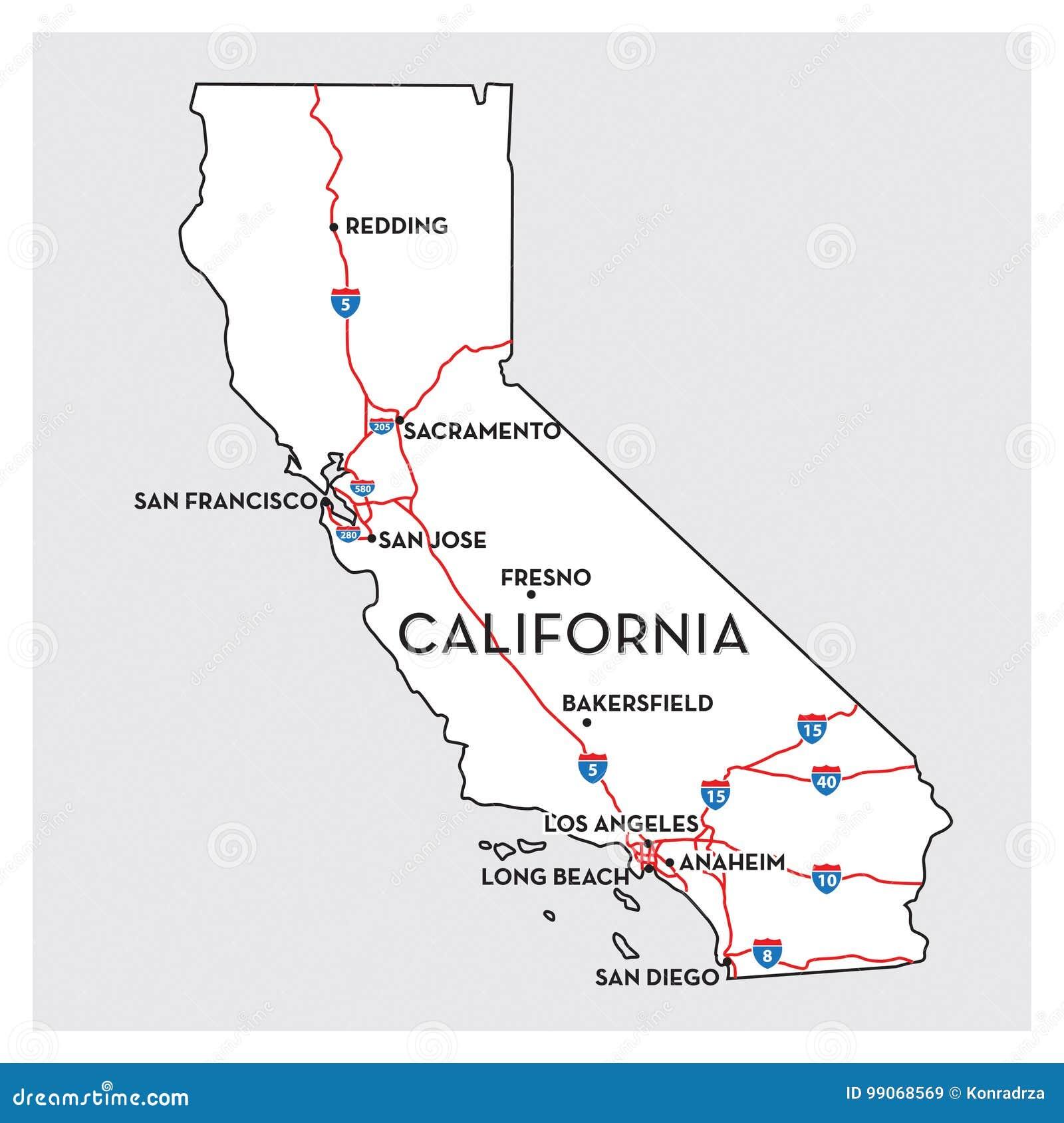 Karte Von Kalifornien Vektor Abbildung Illustration Von Louisiana