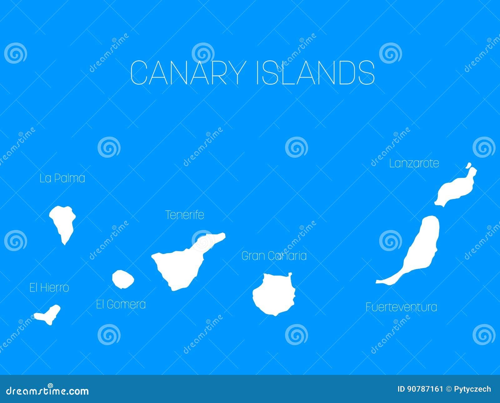 Karte Von Kanarischen Inseln Spanien Mit Aufklebern Von Jeder
