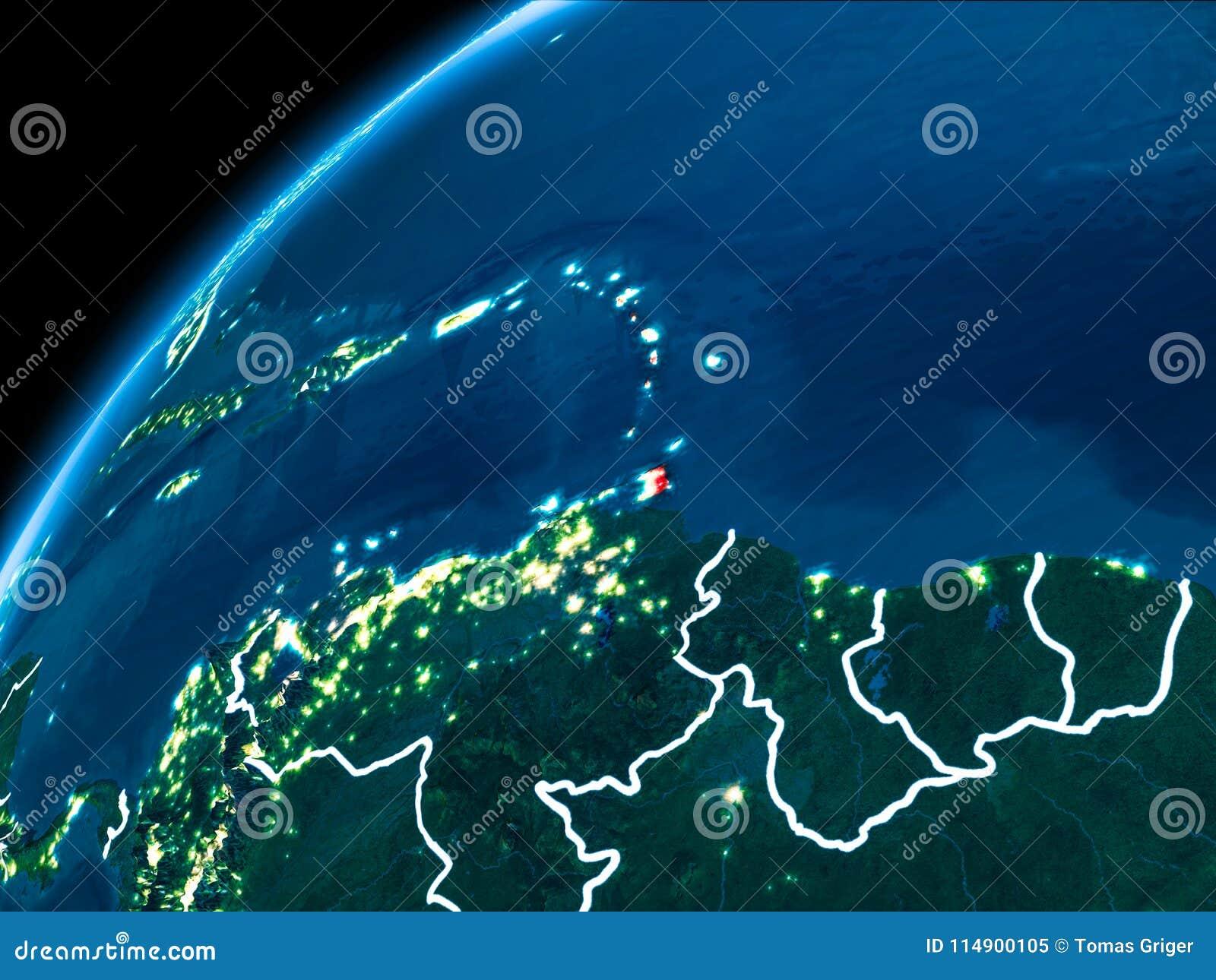 Karte von Karibischen Meeren nachts