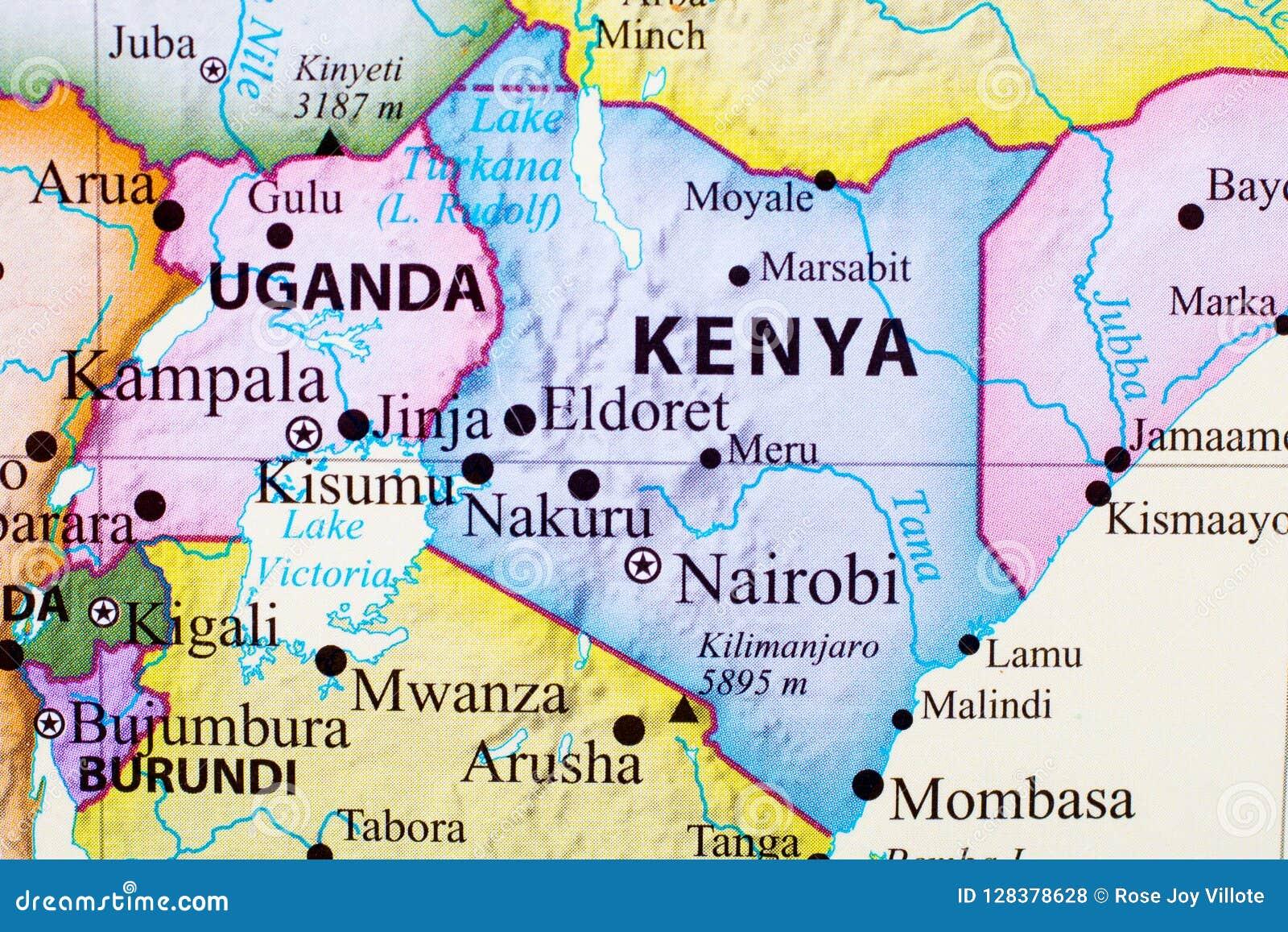 Kenia Karte.Karte Von Kenia Stock Abbildung Illustration Von Stadt 128378628
