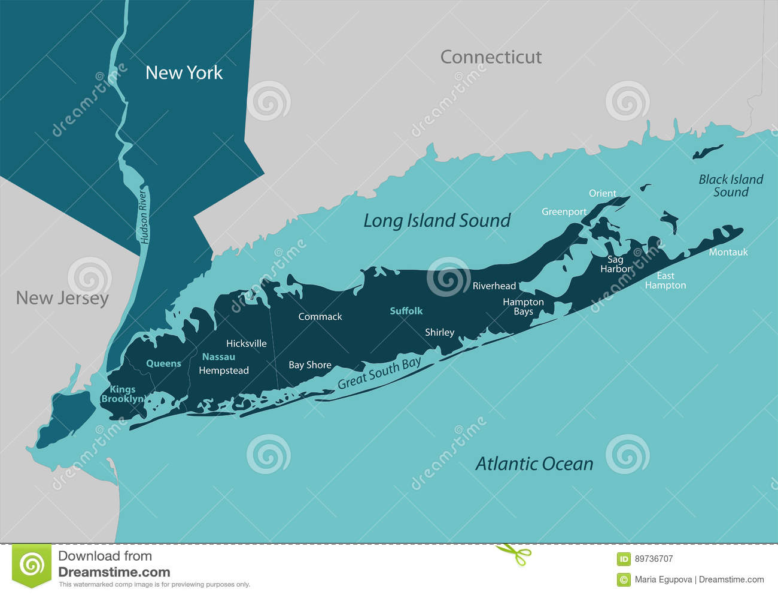 Karte von Long Island