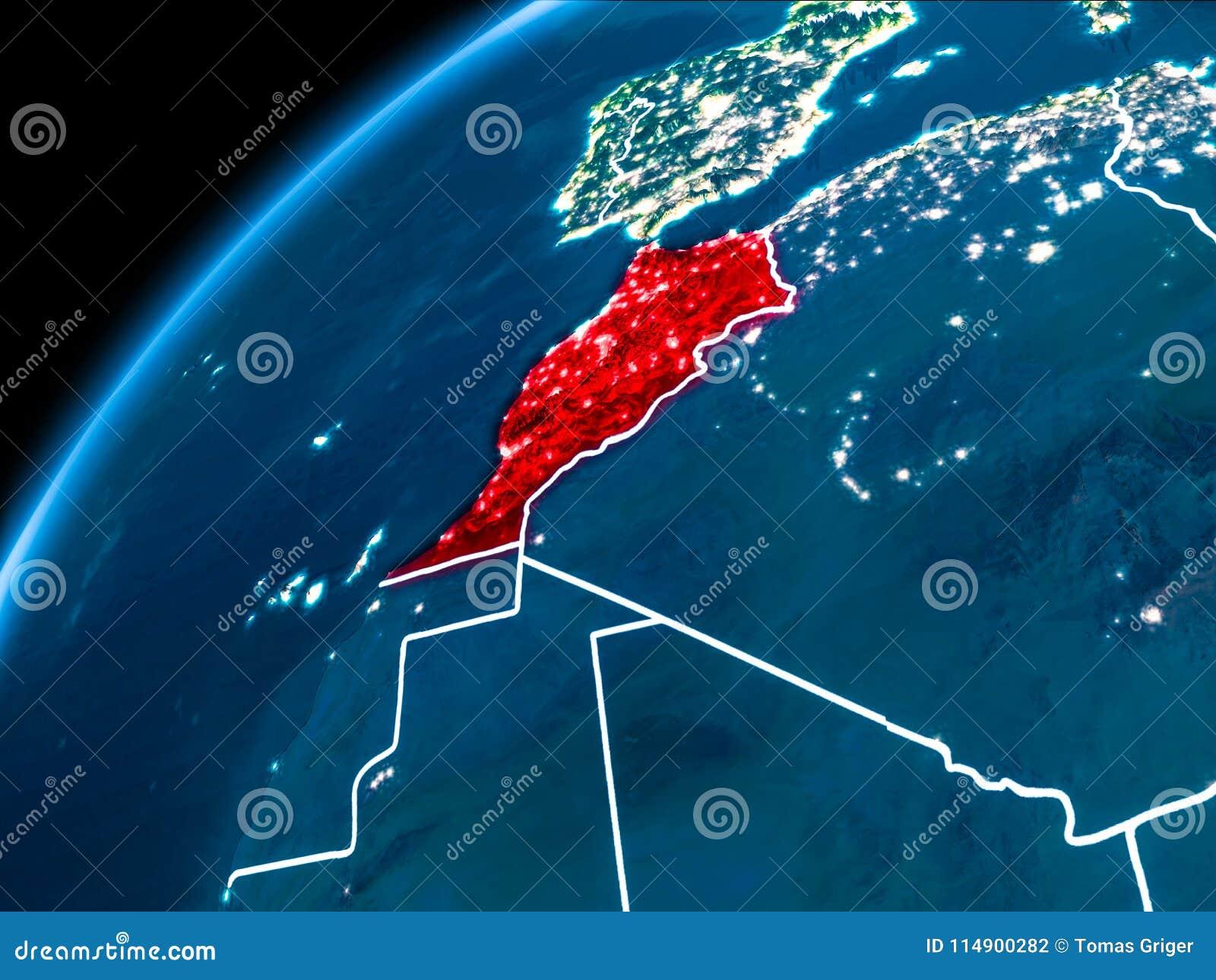 Karte von Marokko nachts