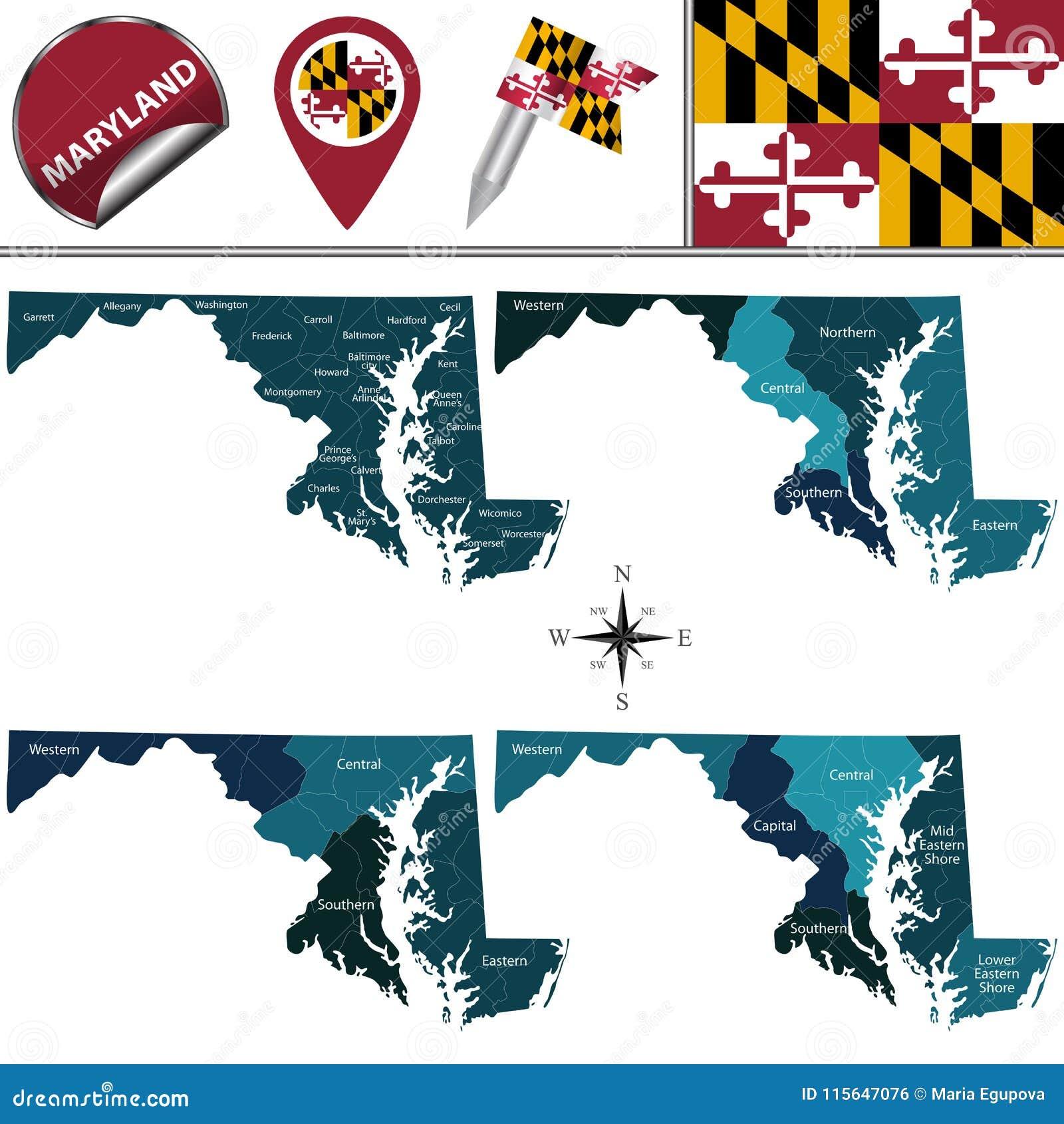 Karte von Maryland mit Regionen
