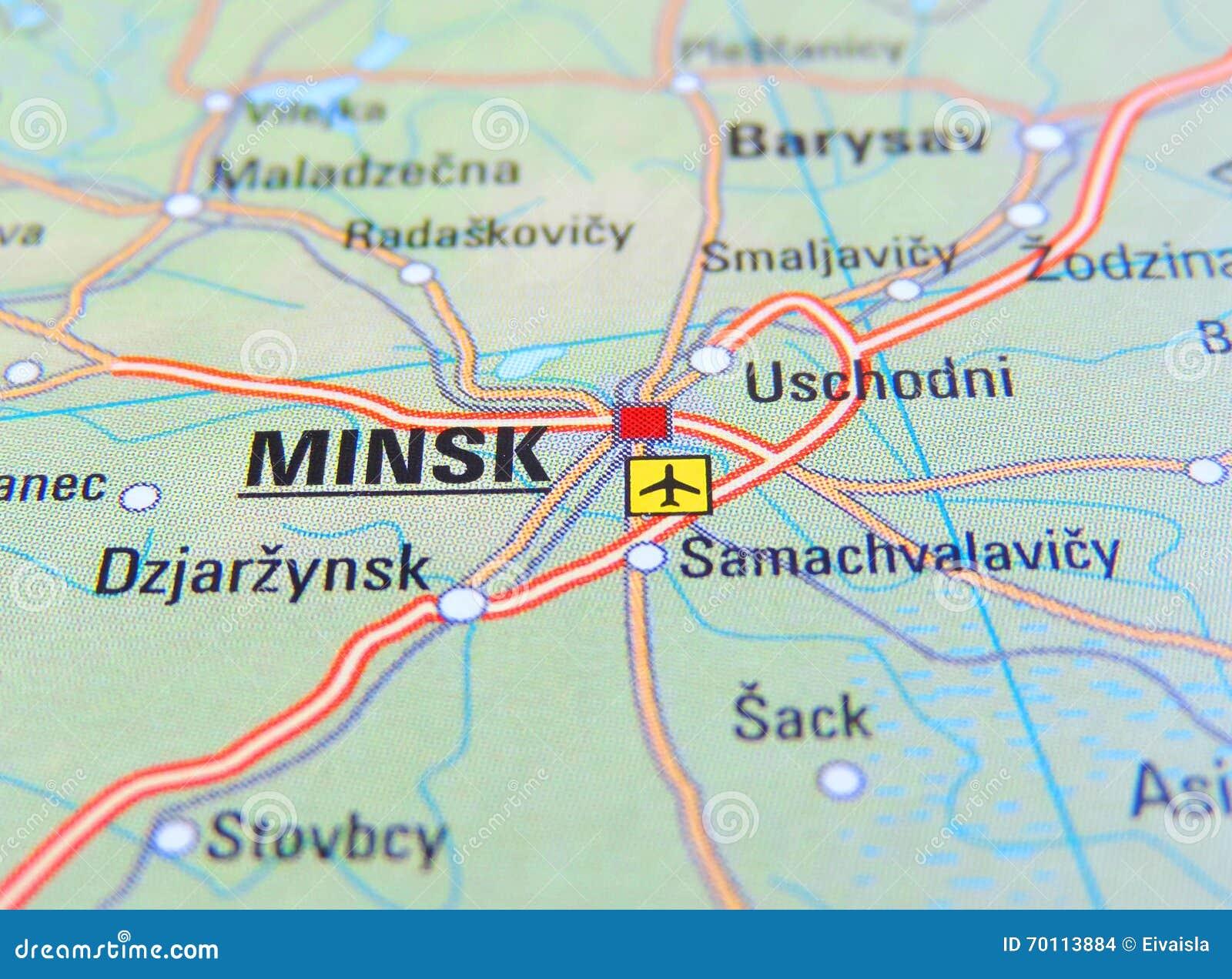 Karte Von Minsk Stockfoto Bild Von Minsk Karte 70113884