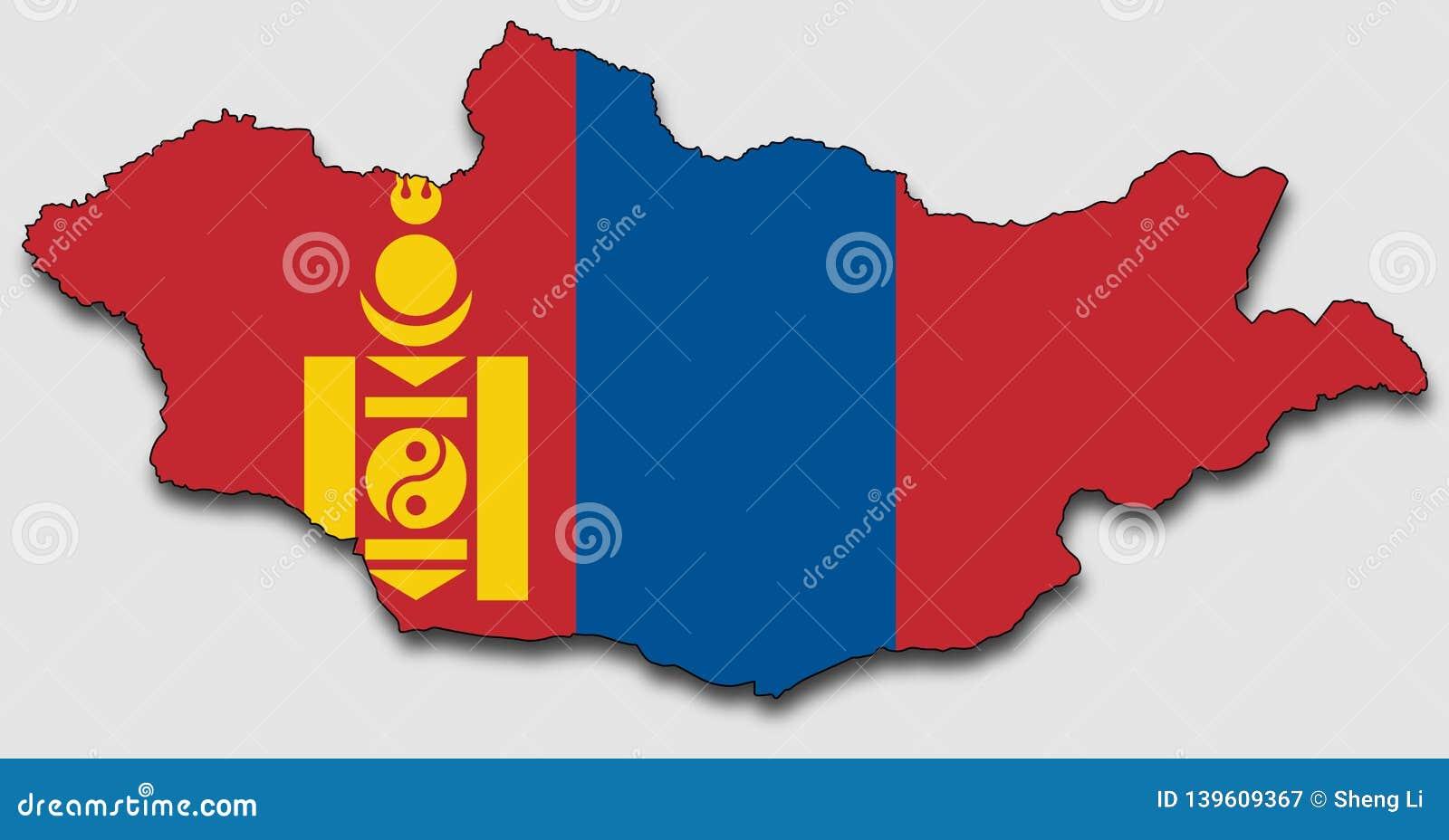 Karte von Mongolei, gefüllt mit der Staatsflagge