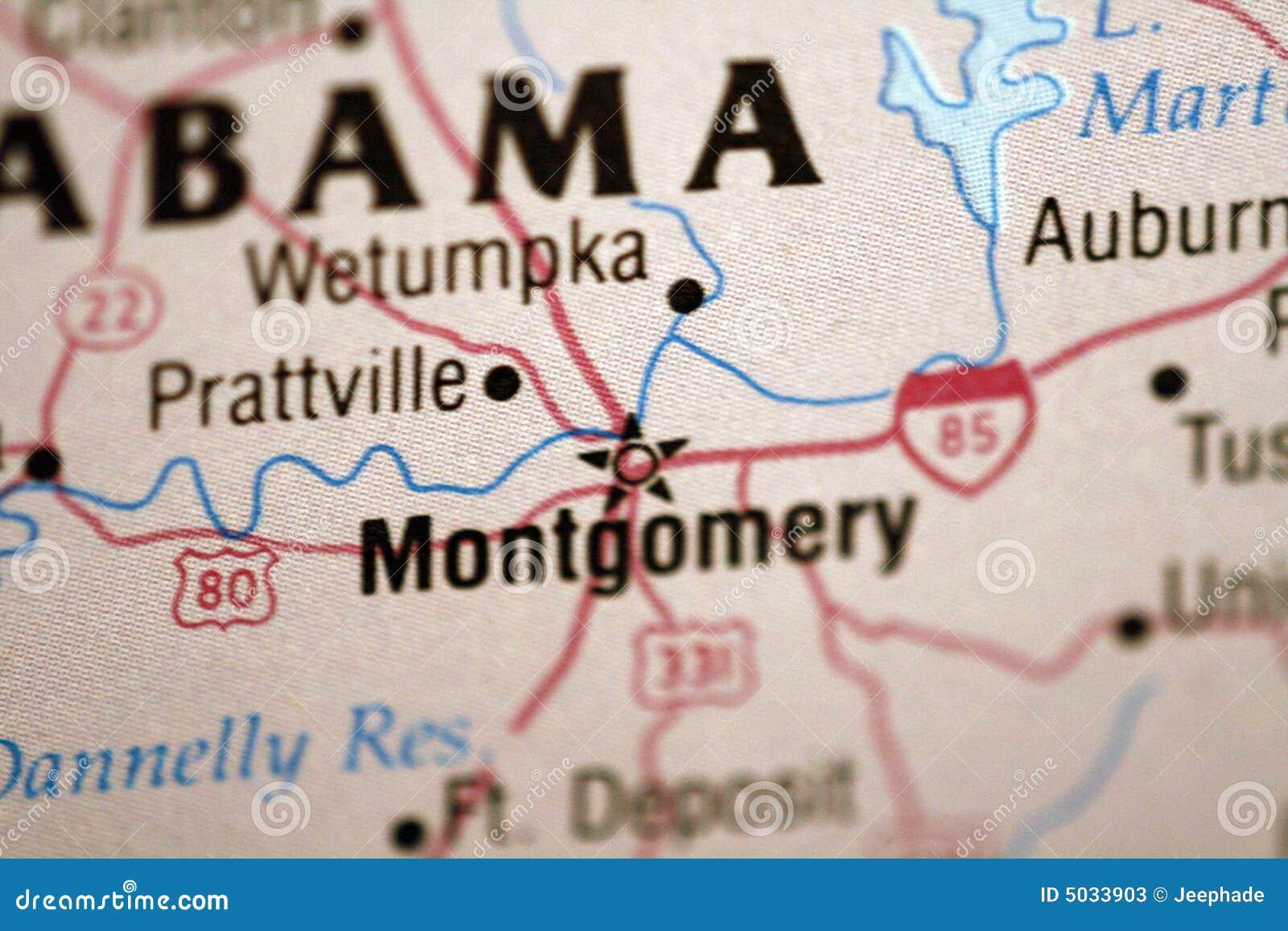 Karte Von Montgomery Alabama Stockbild - Bild von cartography ...