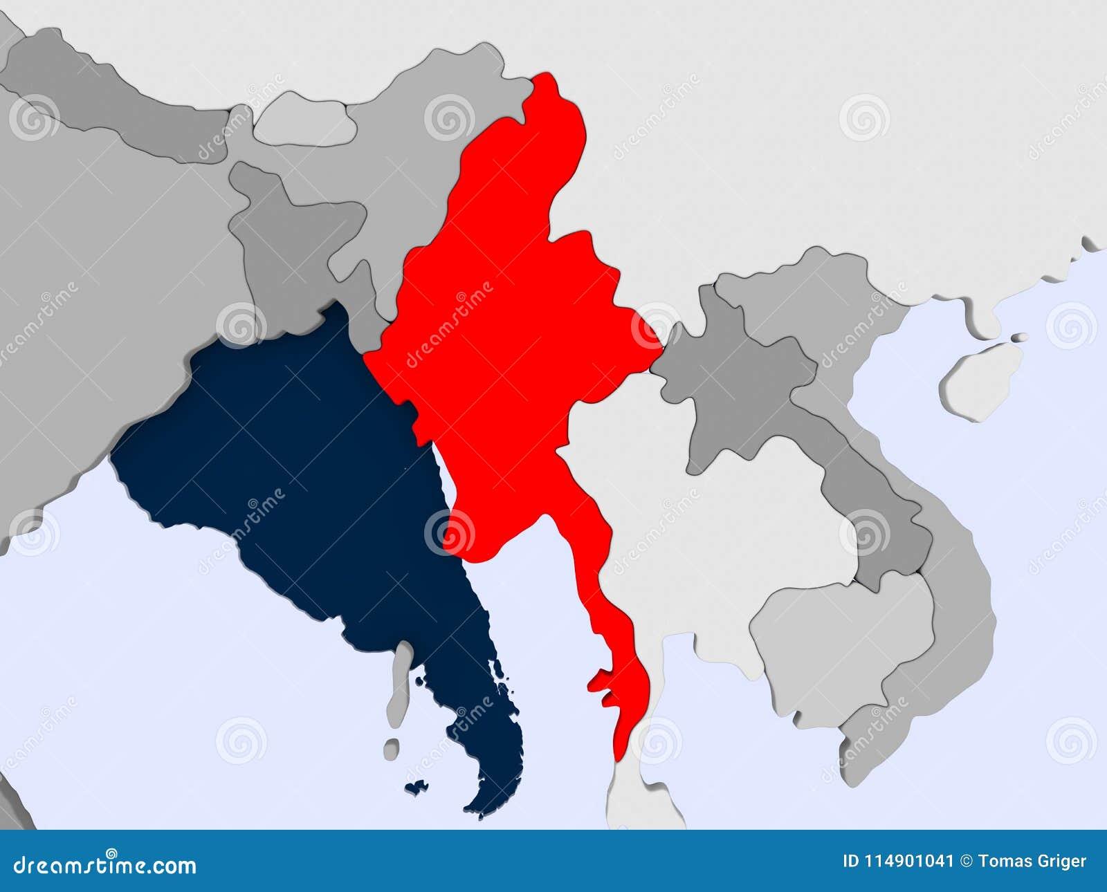 Karte Myanmar.Karte Von Myanmar Stock Abbildung Illustration Von Nachricht