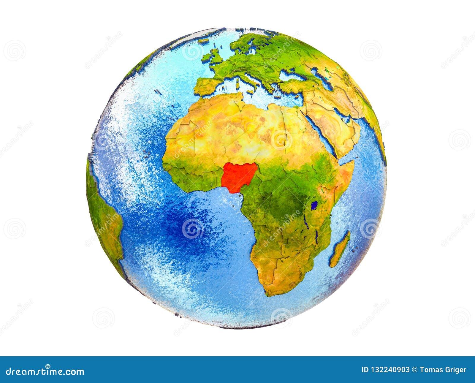 Karte von Nigeria auf der Erde 3D lokalisiert