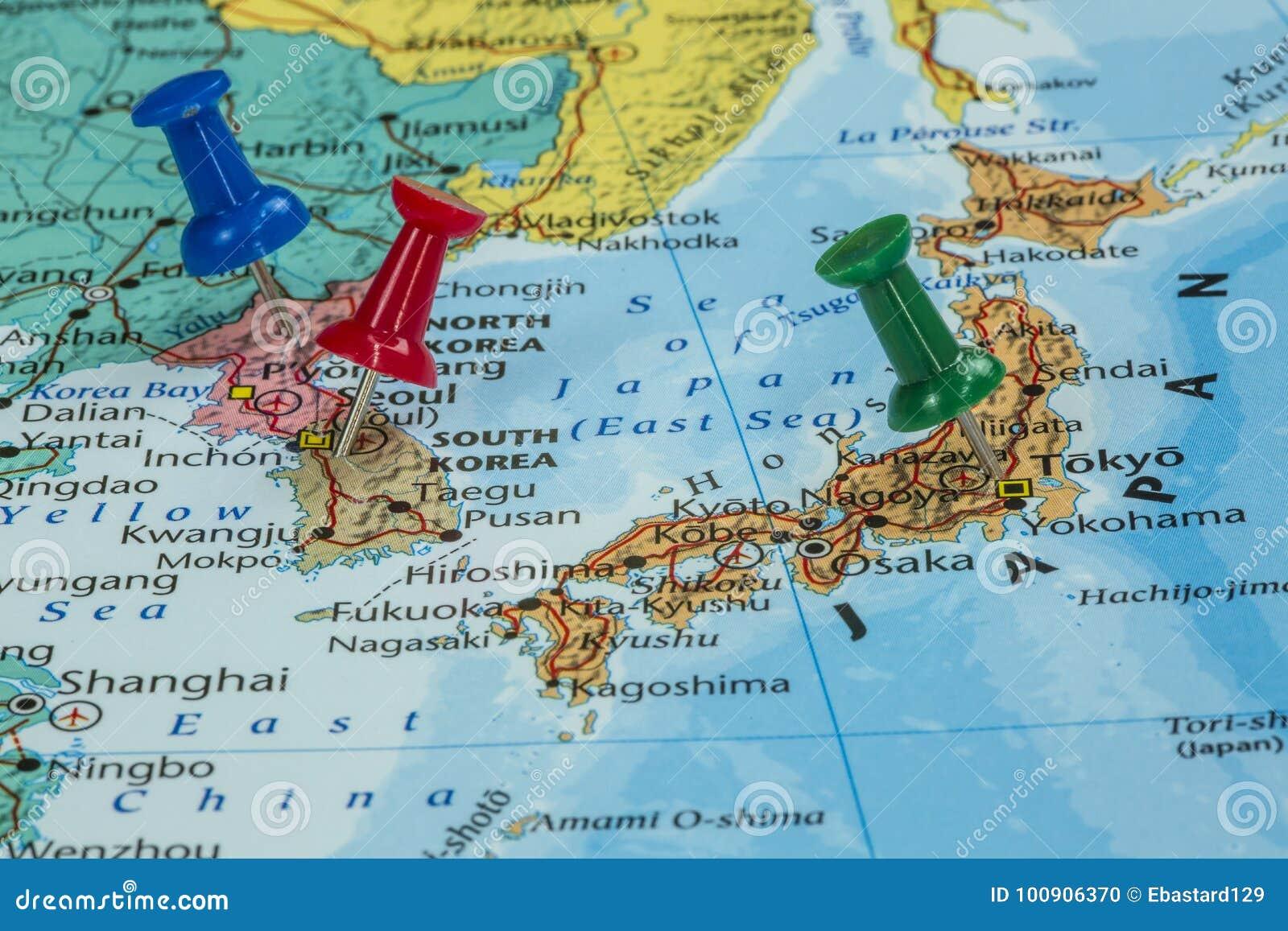 Südkorea Karte.Karte Von Nordkorea Von Südkorea Und Von Japan Stockfoto Bild Von