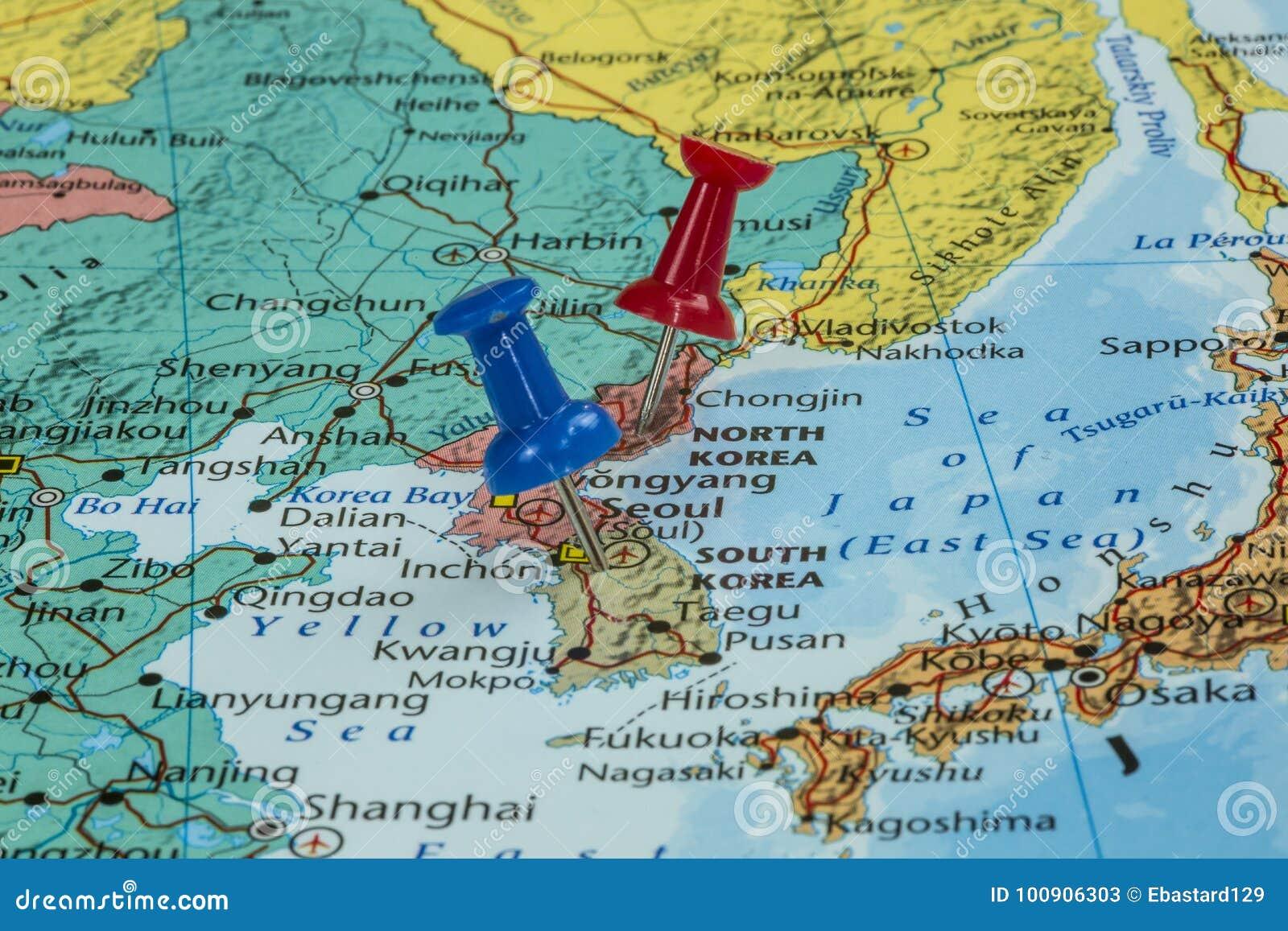 Südkorea Karte.Karte Von Nordkorea Und Von Südkorea Stockbild Bild Von