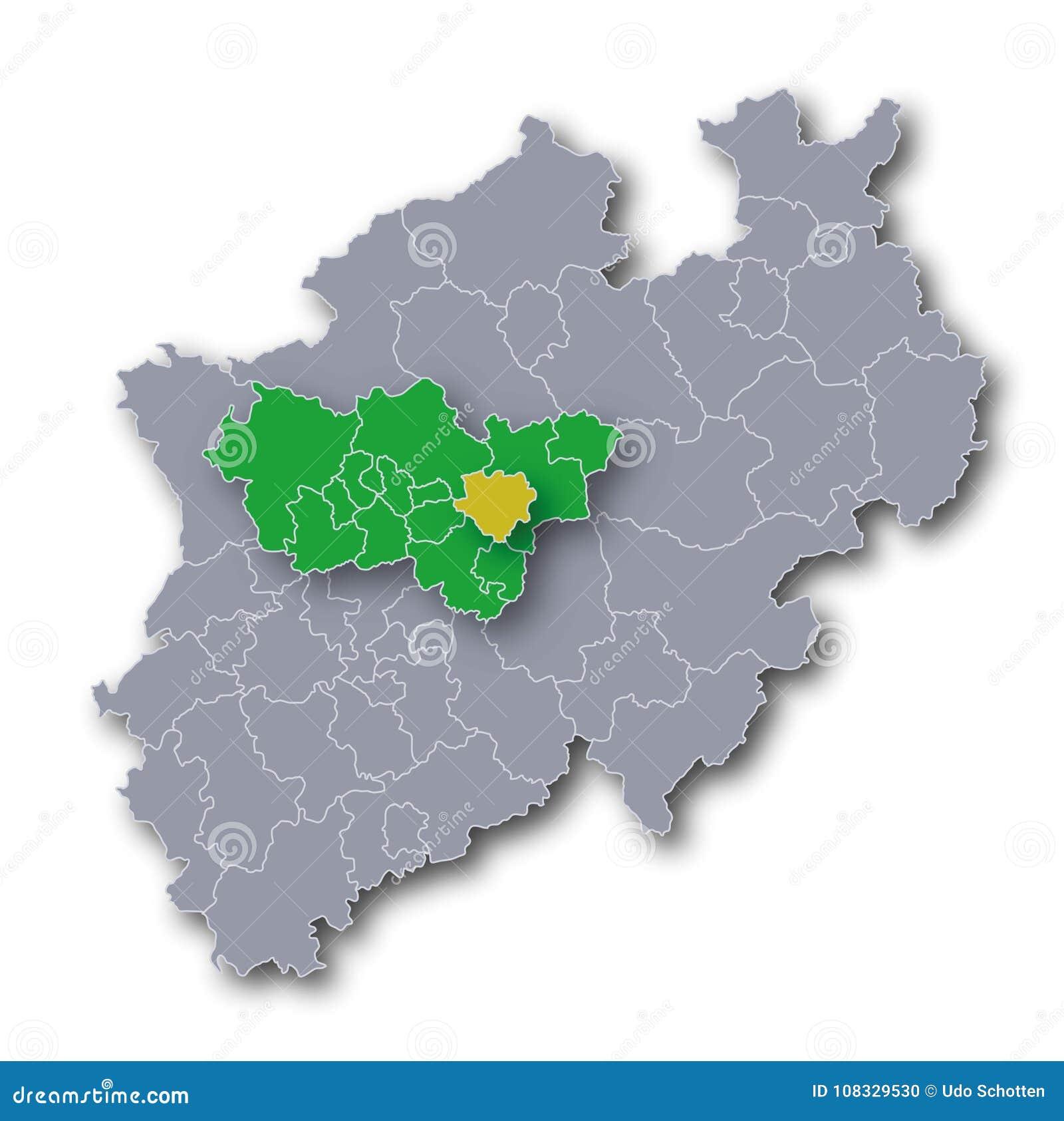 Karte Ruhrgebiet Städte.Karte Von Nrw Ruhrgebiet Und Dortmund Vektor Abbildung