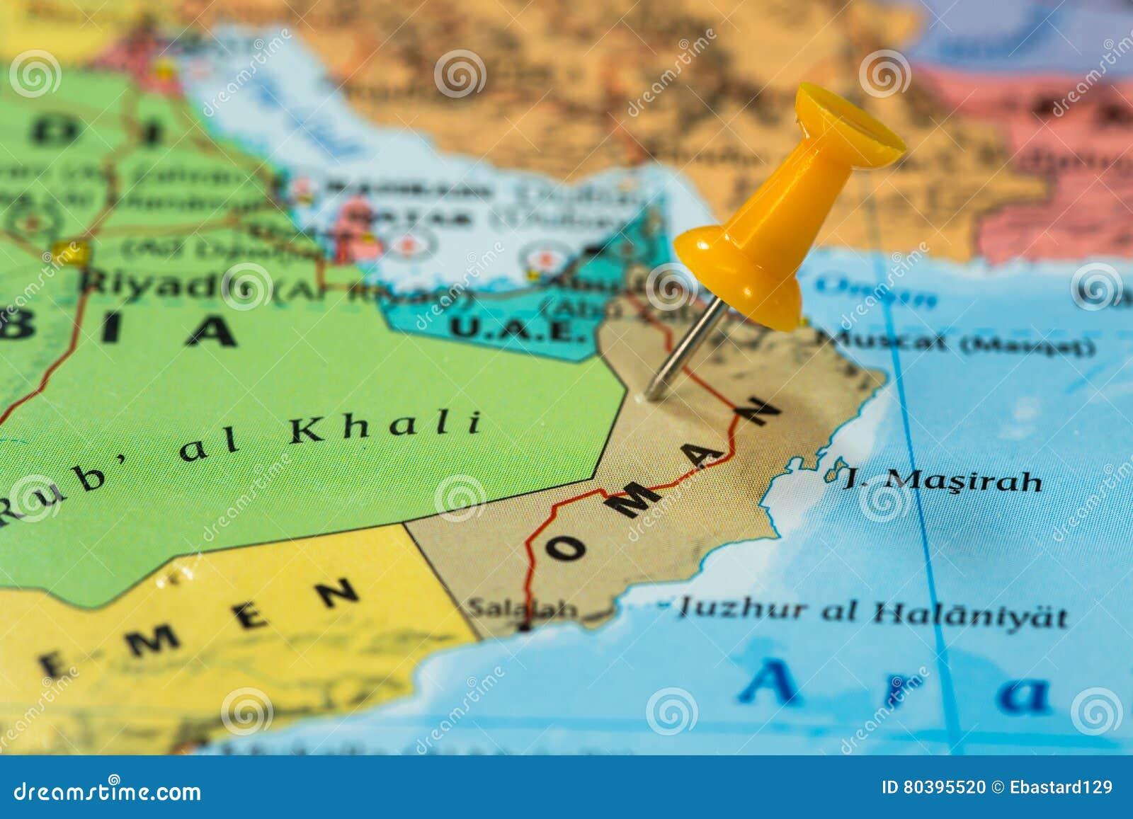 Karte Oman.Karte Von Oman Mit Einem Orange Druckbolzen Fest Stockfoto Bild