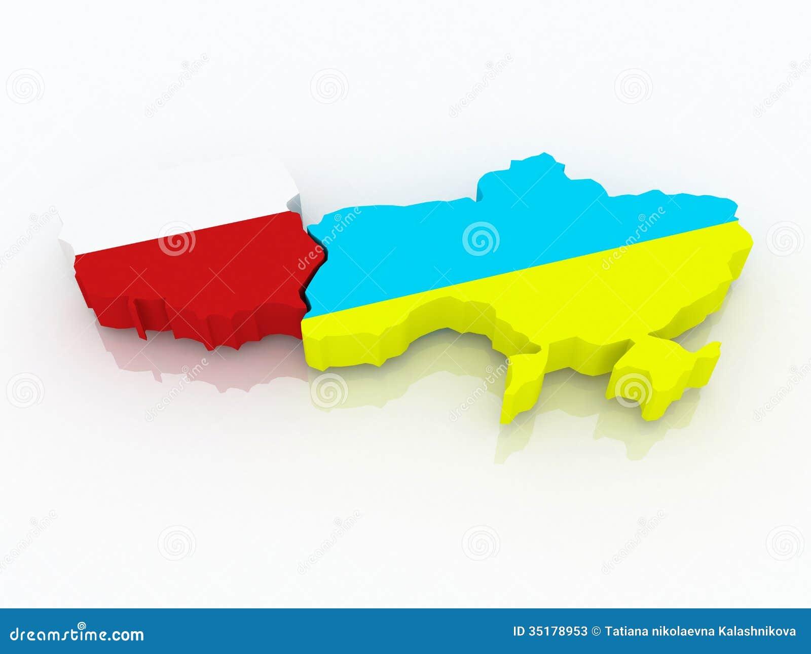 Stockfotos karte von polen und von ukraine