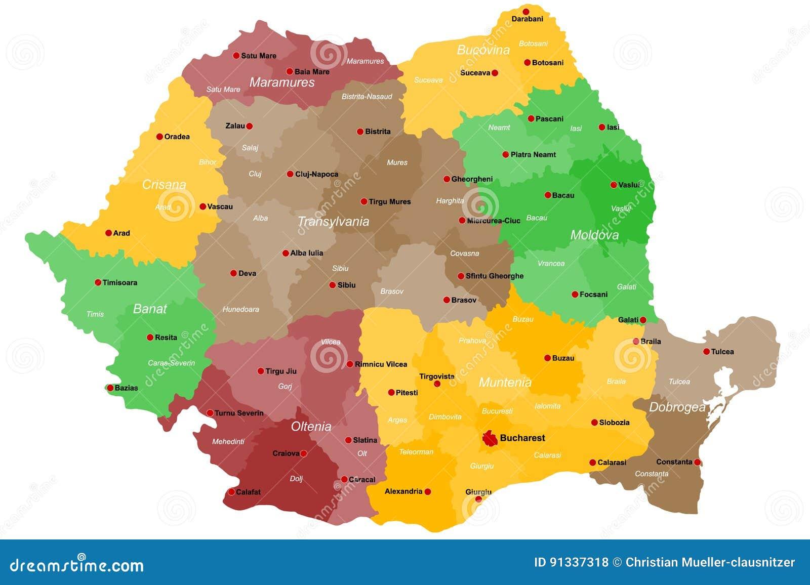 Karte Von Rumanien Vektor Abbildung Illustration Von Rumanien
