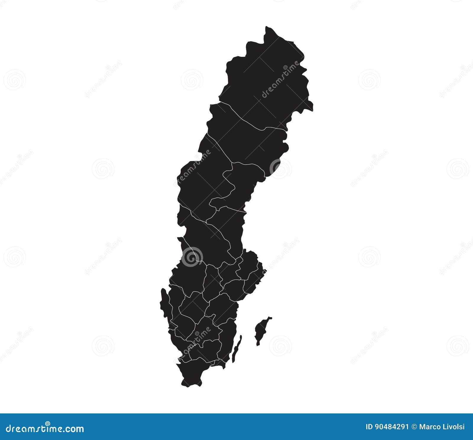 Schweden Karte Regionen.Karte Von Schweden Mit Den Regionen Veranschaulicht Stock