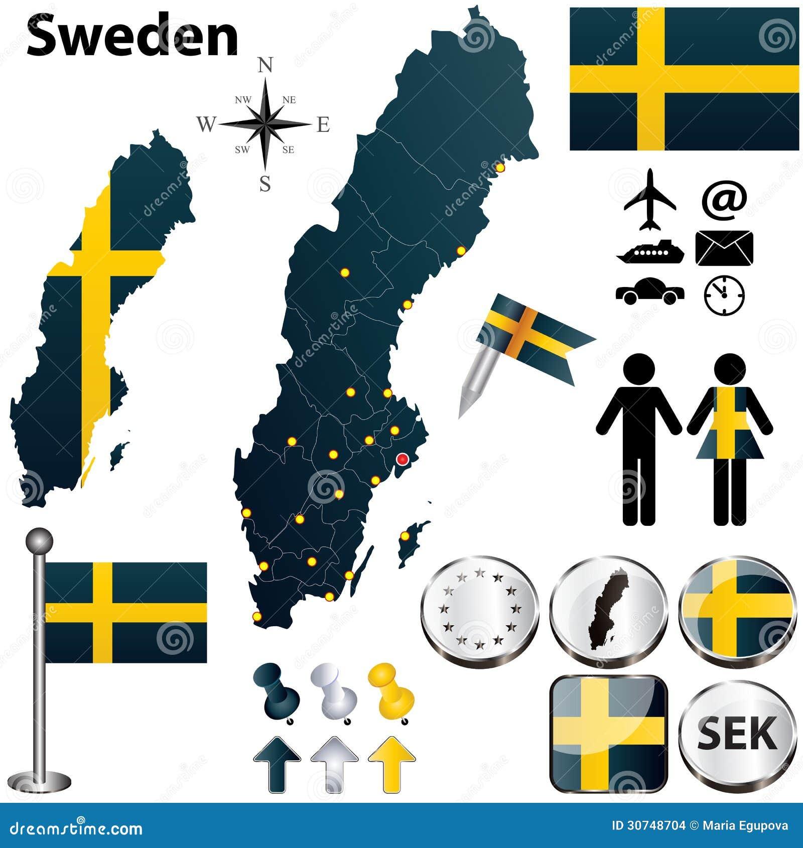 Karte Schweden Regionen.Karte Von Schweden Mit Regionen Vektor Abbildung