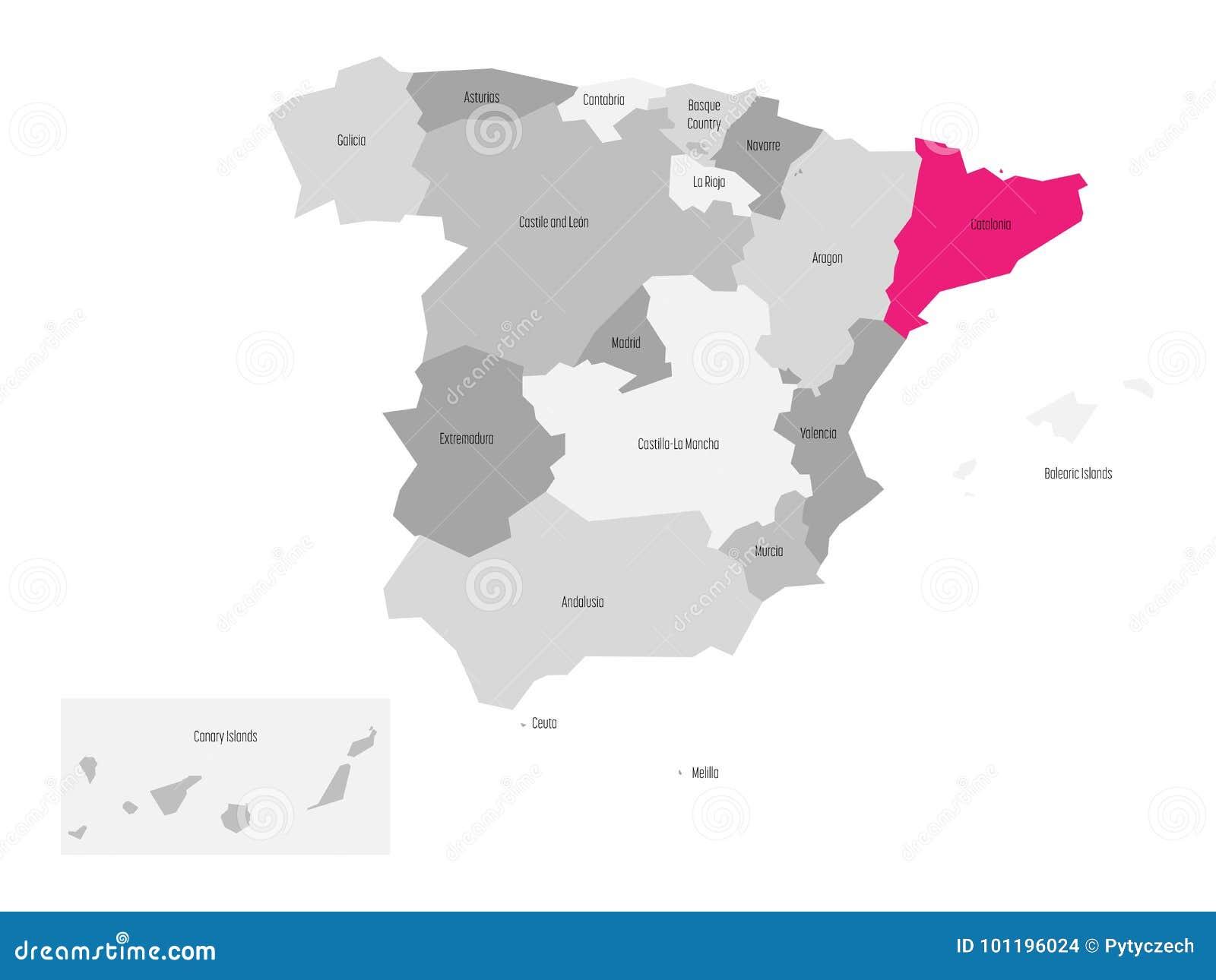 Spanien Katalonien Karte.Karte Von Spanien Teilte Sich Zu 17 Administrativen
