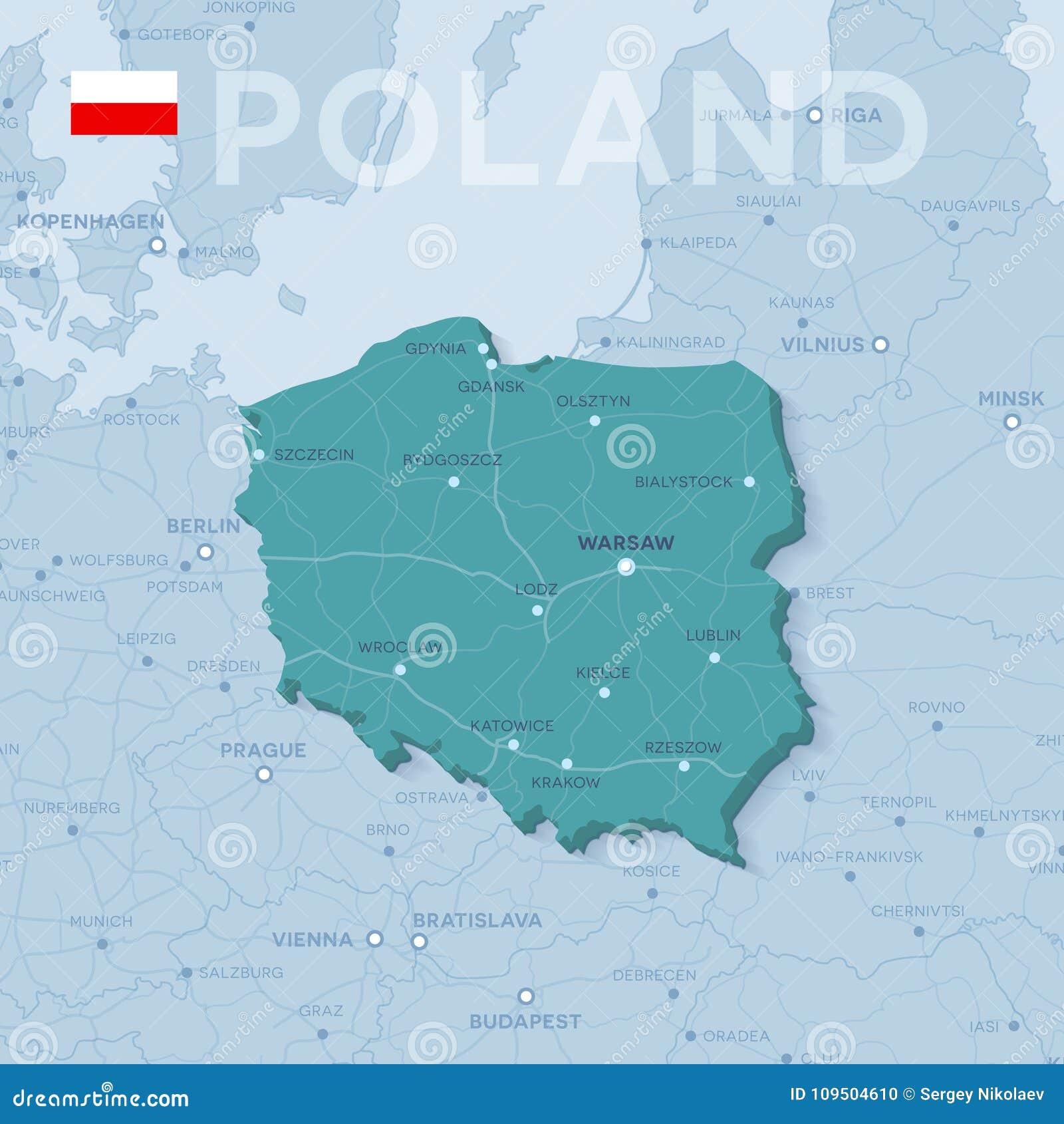 Karte Von Stadten Und Von Strassen In Polen Vektor Abbildung