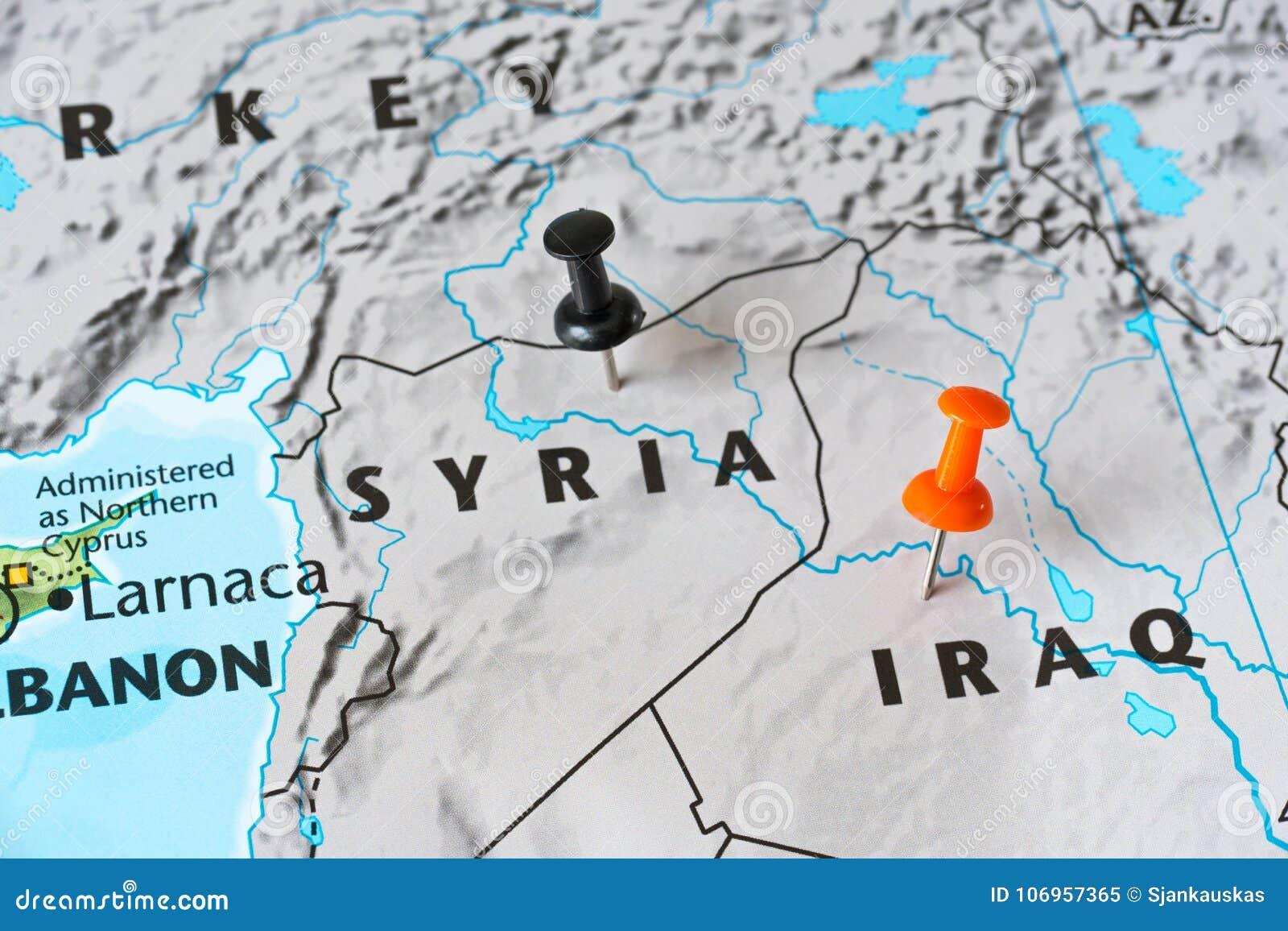 Syrien Karte Krieg.Karte Von Syrien Und Von Irak Konzept Der Weltbrenzligen Stelle
