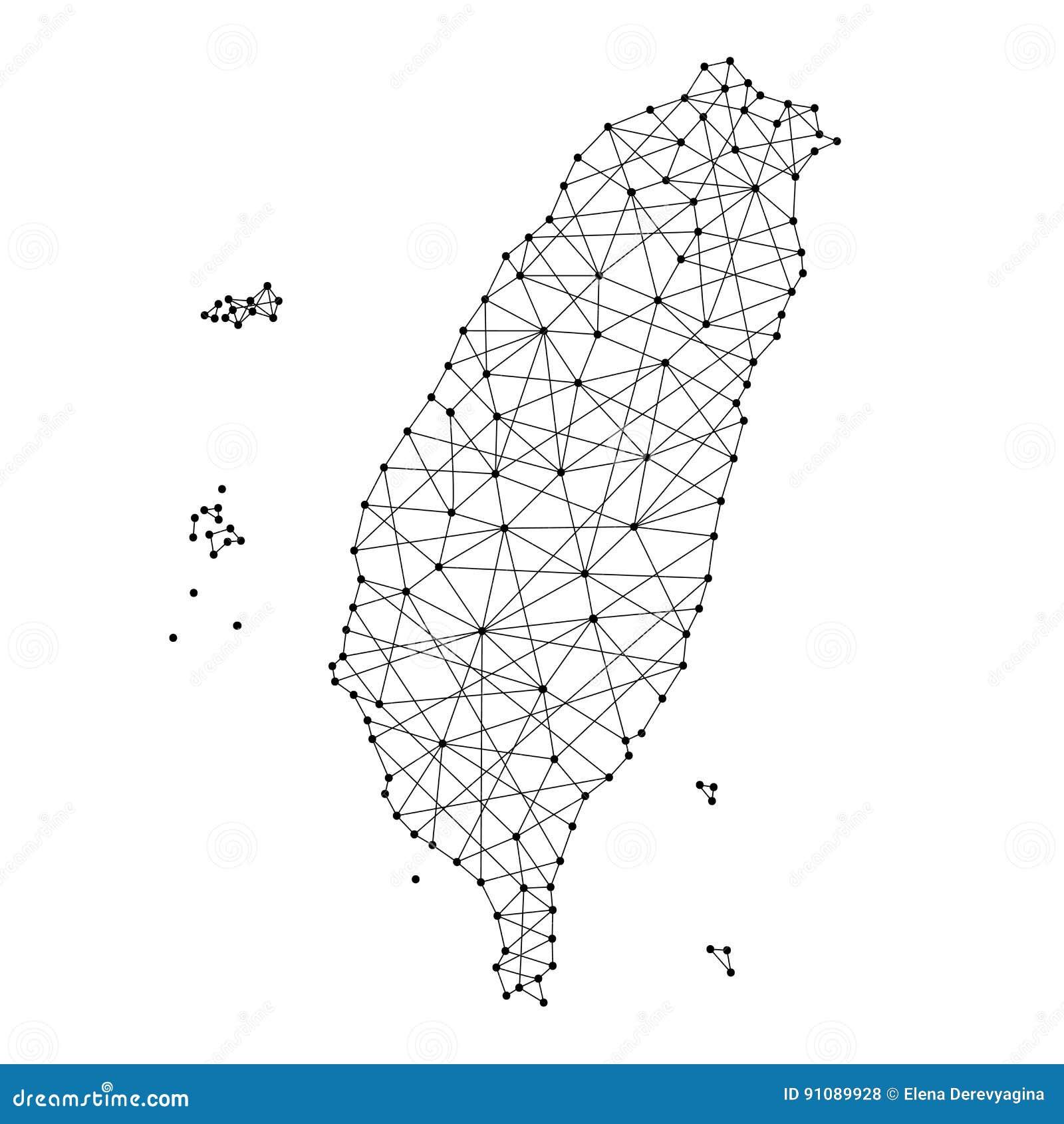 Karte von Taiwan von den polygonalen schwarzen Linien, Punkte der Vektorillustration