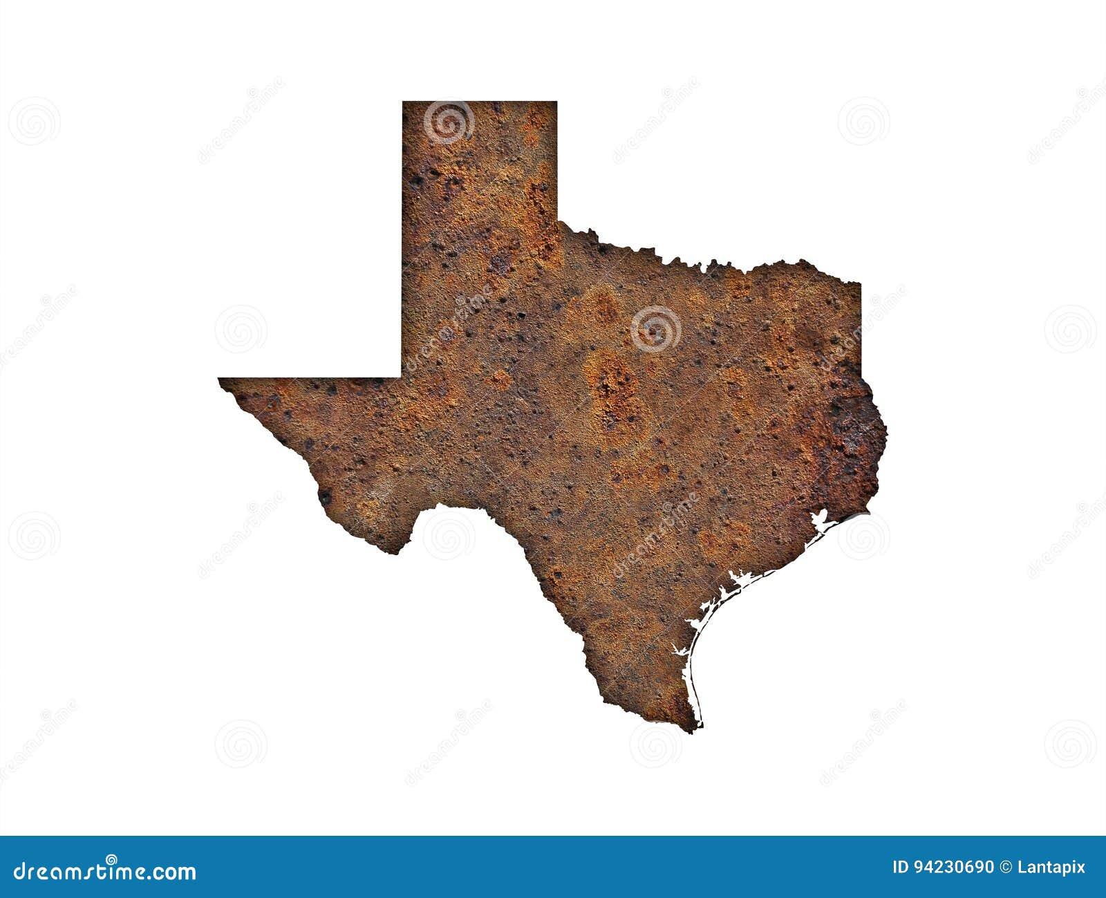 Karte von Texas auf rostigem Metall