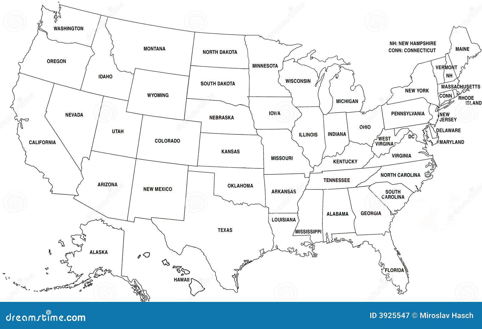 Karte Von Usa Stock Abbildung Illustration Von Karte 3925547