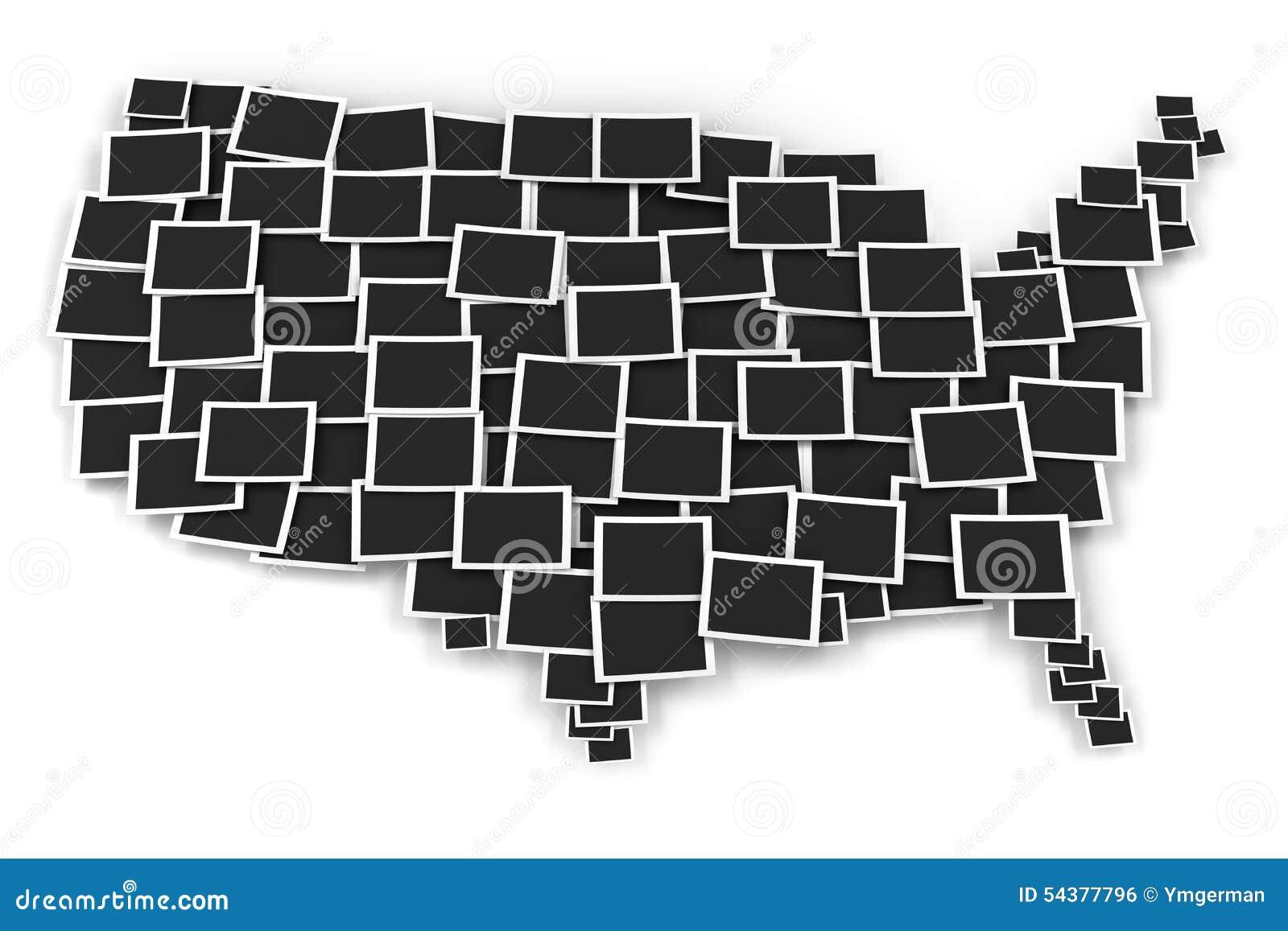 Karte Von USA Bildete Sich Durch Leere Bilderrahmen Stock Abbildung ...