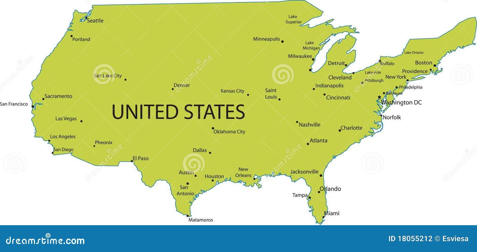 Karte Von Usa Mit Bedeutenden Stadte Vektor Abbildung