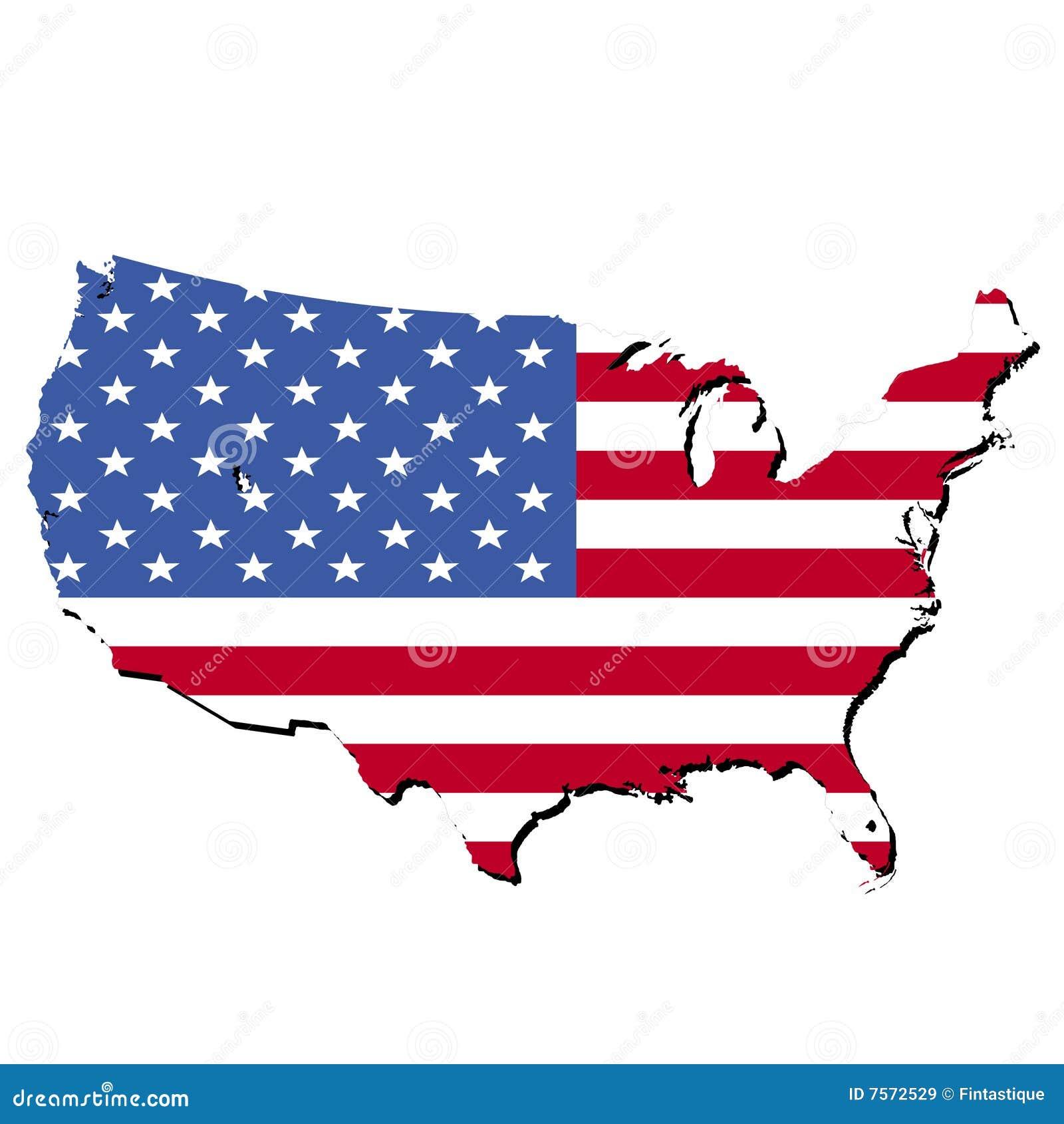 karte von usa und von amerikanischer flagge lizenzfreie stockbilder bild 7572529. Black Bedroom Furniture Sets. Home Design Ideas