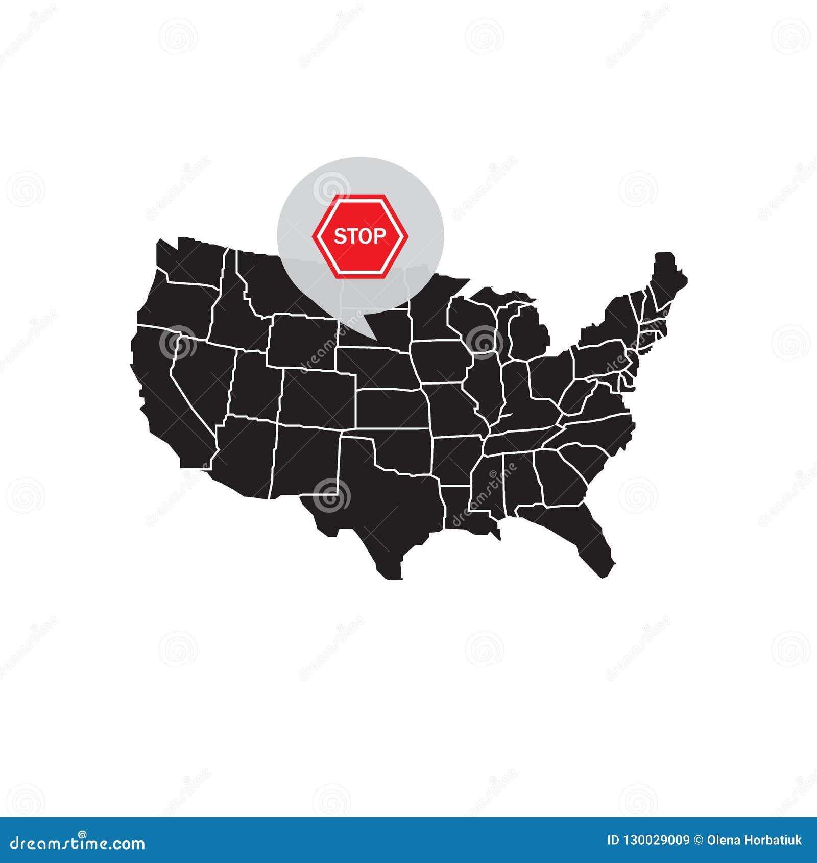 Karte von Vereinigten Staaten Amerika mit einem Haltesignal