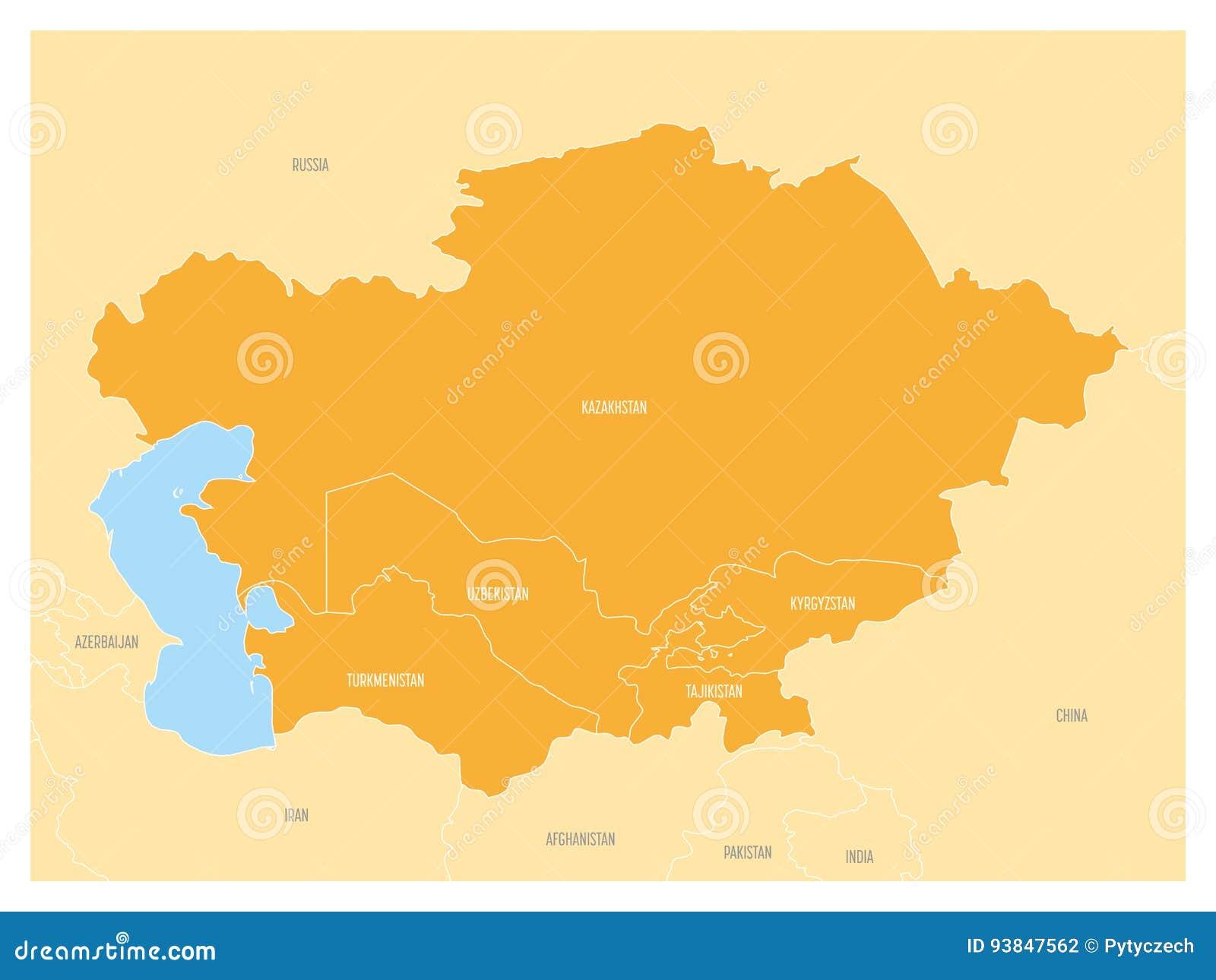 Usbekistan Karte.Karte Von Zentralasien Region Mit Orange Hervorgehobenem Kasachstan