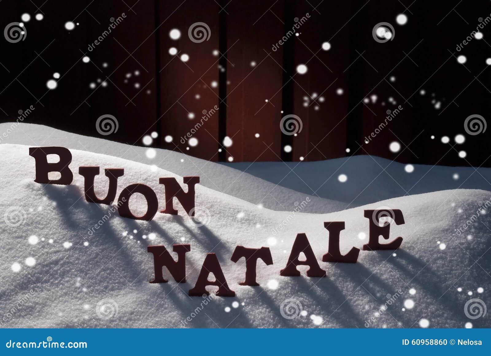 Karte WithSnow, Buon Natale Means Merry Christmas, Schneeflocken ...