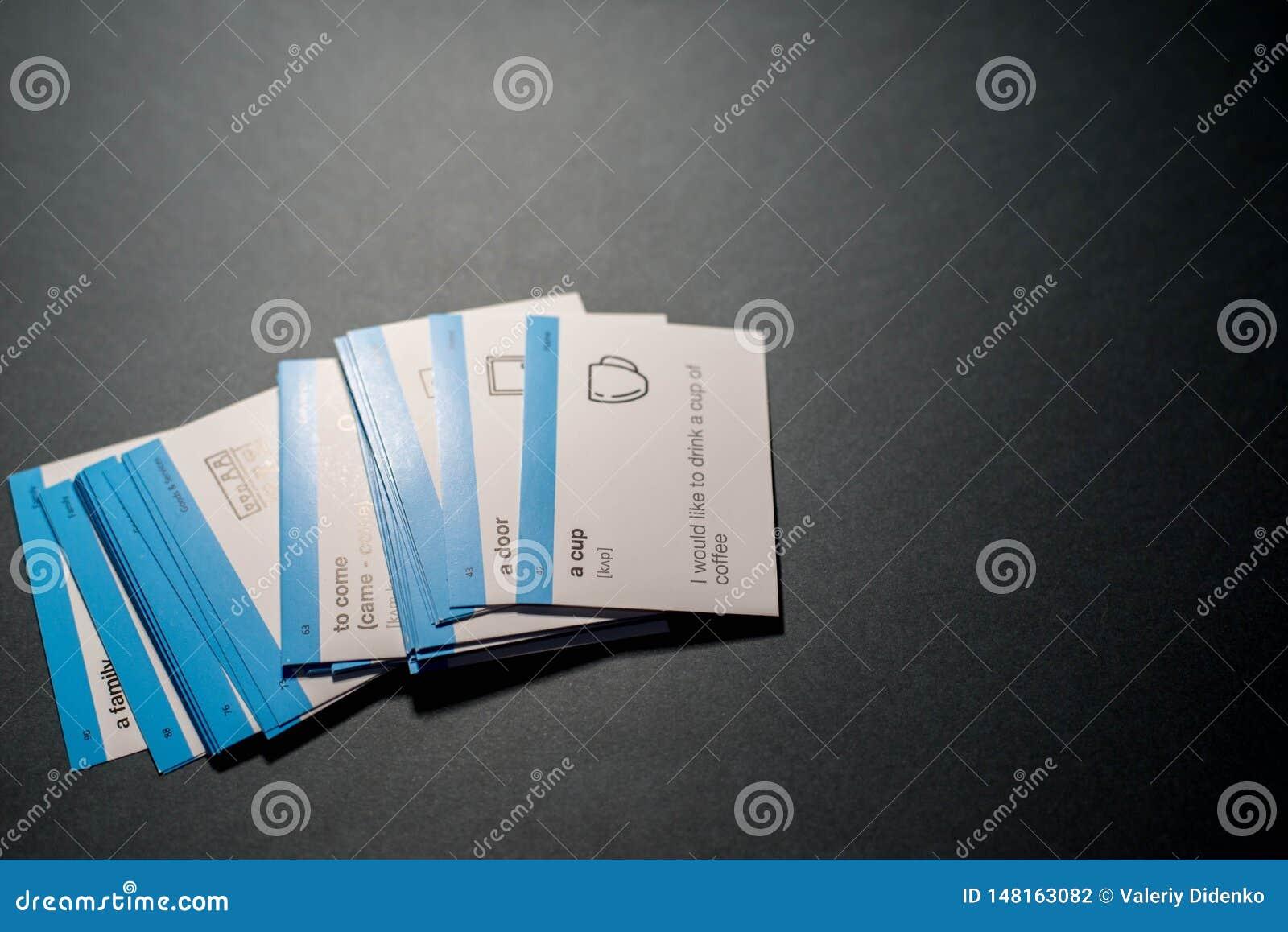 Karten f?r das Lernen von Englisch