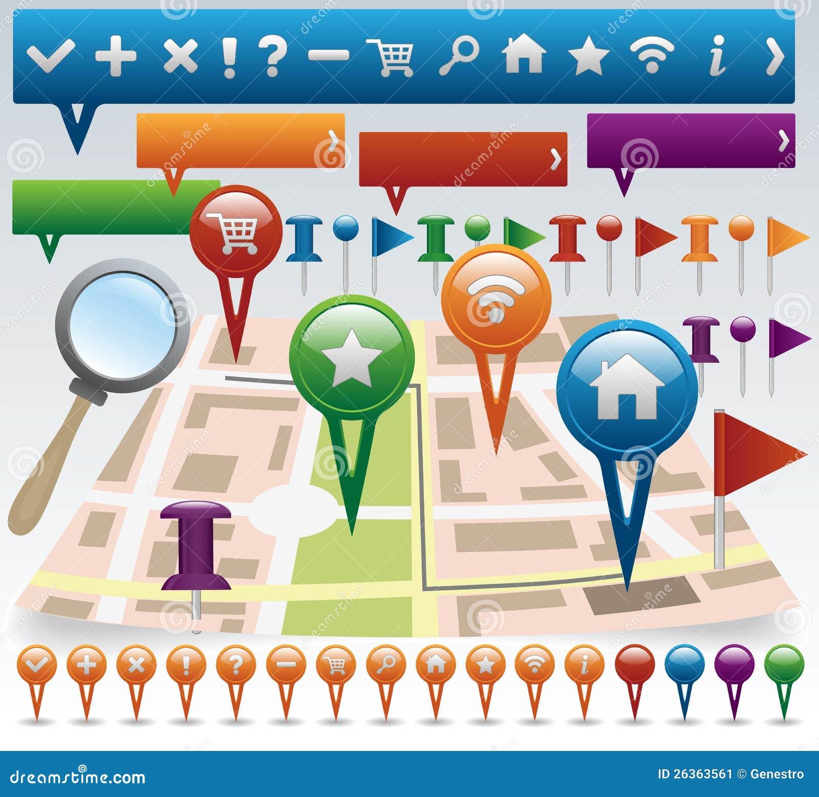 Karten- und Navigationsikonenset