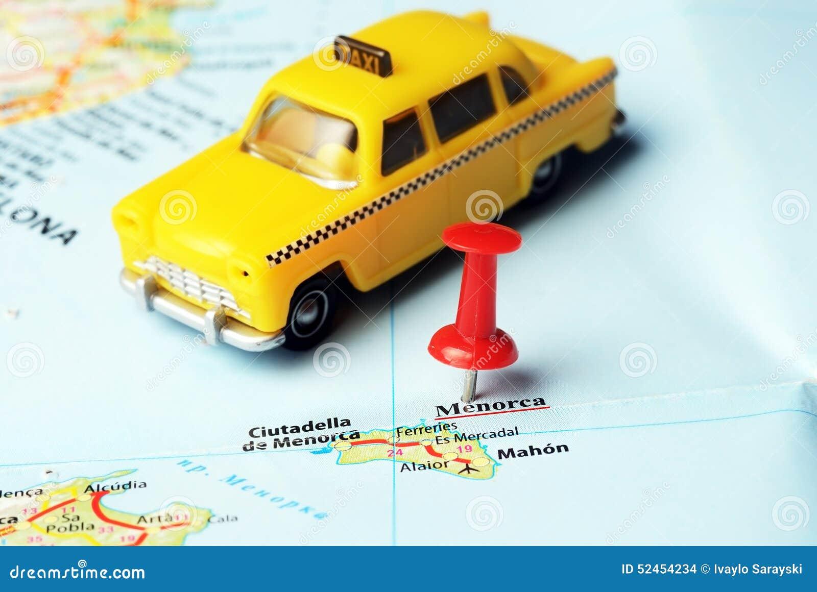 Insel Menorca Karte.Kartentaxi Menorca Insel Spanien Stockfoto Bild Von