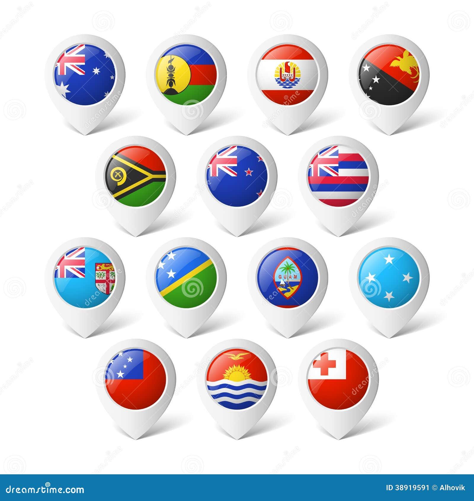 Kartenzeiger mit Flaggen. Ozeanien.