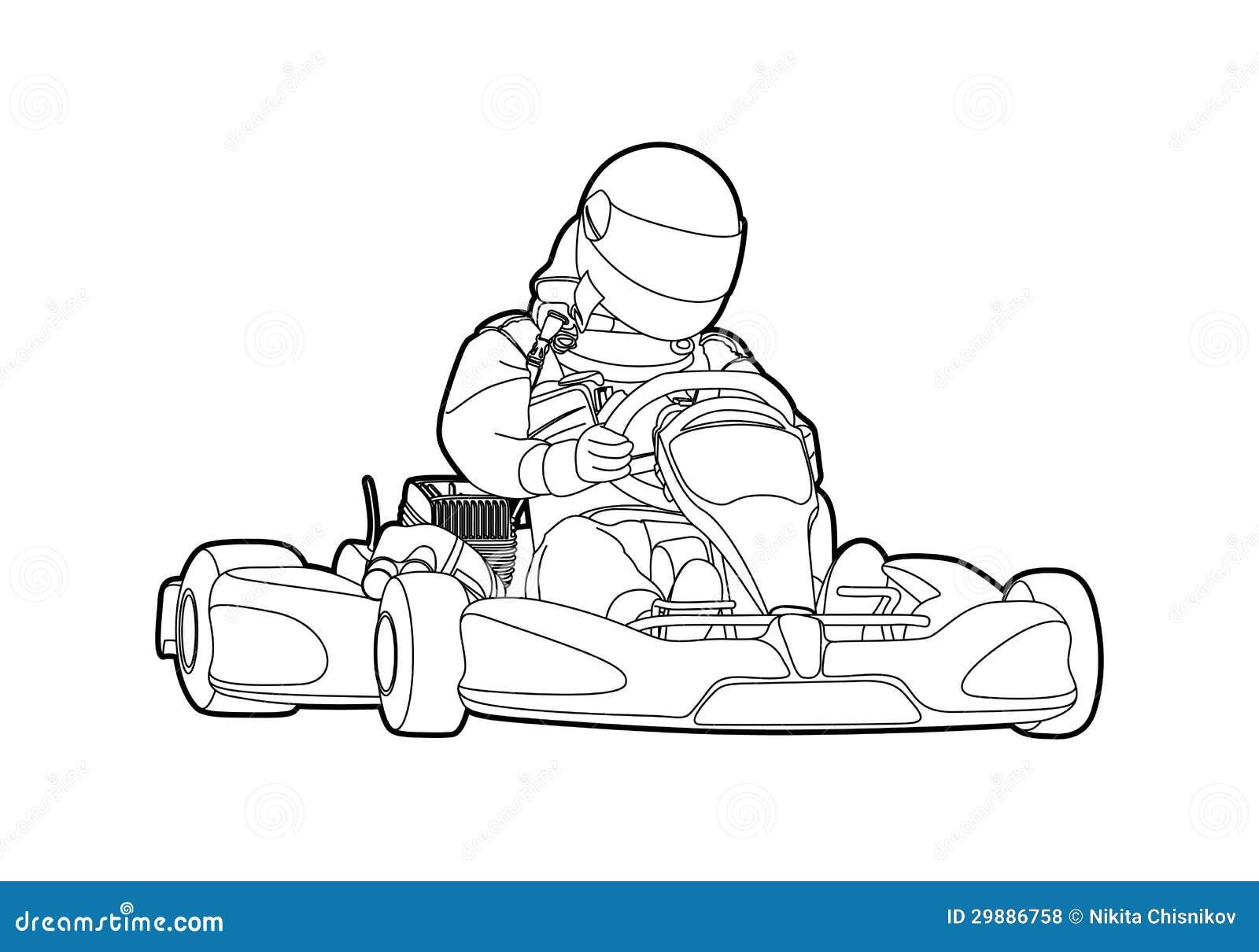 Karting Vector Illustratie. Illustratie Bestaande Uit