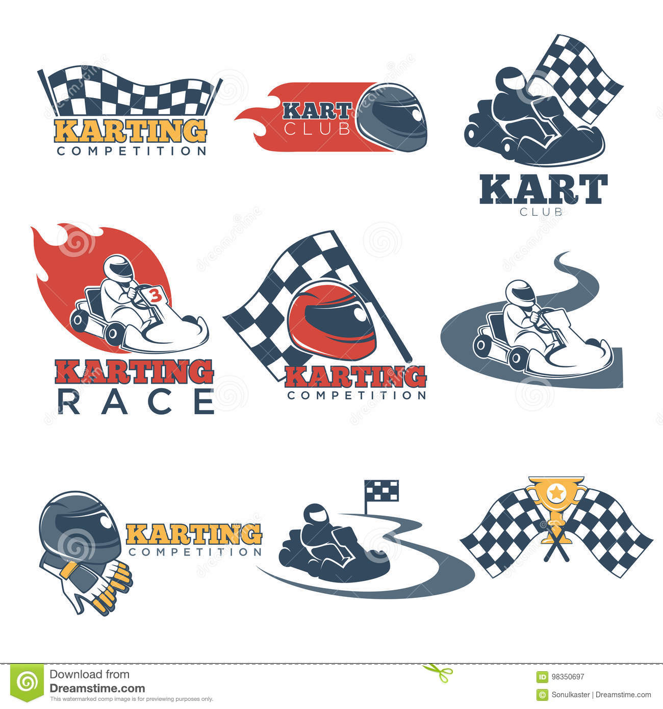 Karting Club Or Kart Races Sport Competition Vector Template Icons